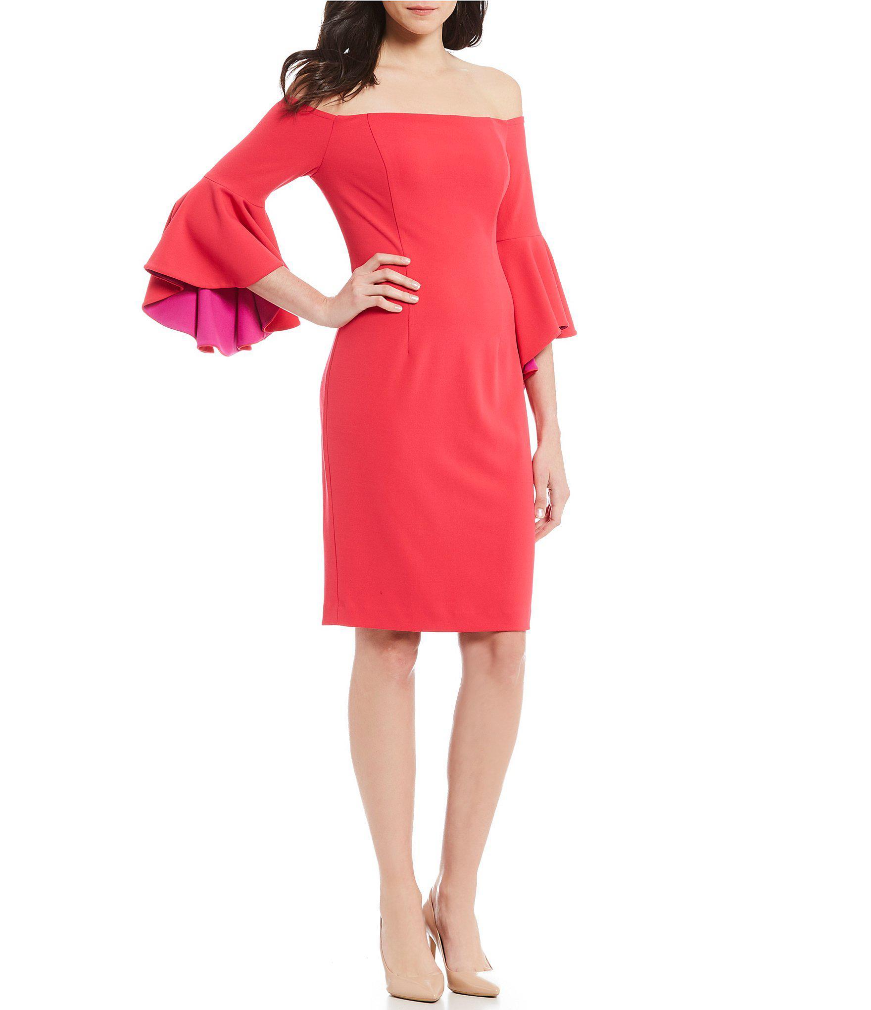 1b9d91d7 Calvin Klein. Women's Pink Colorblock Off The Shoulder Ruffle Bell Sleeve  Sheath Dress