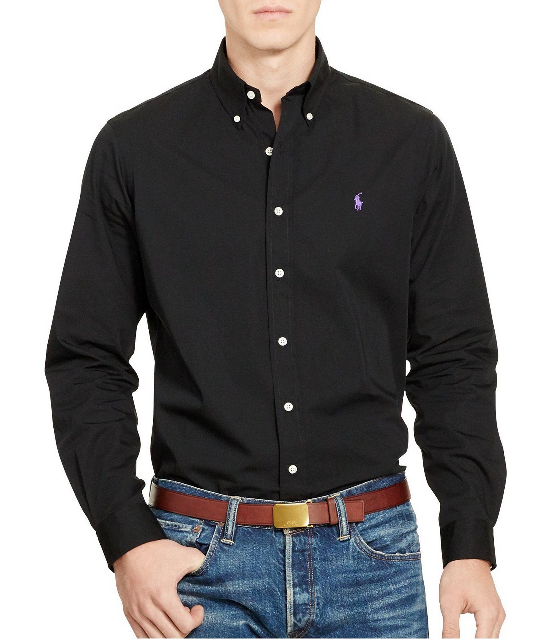 31a6a32b4 Polo Ralph Lauren. Men s Black Cotton Solid Poplin Long-sleeve Woven Shirt