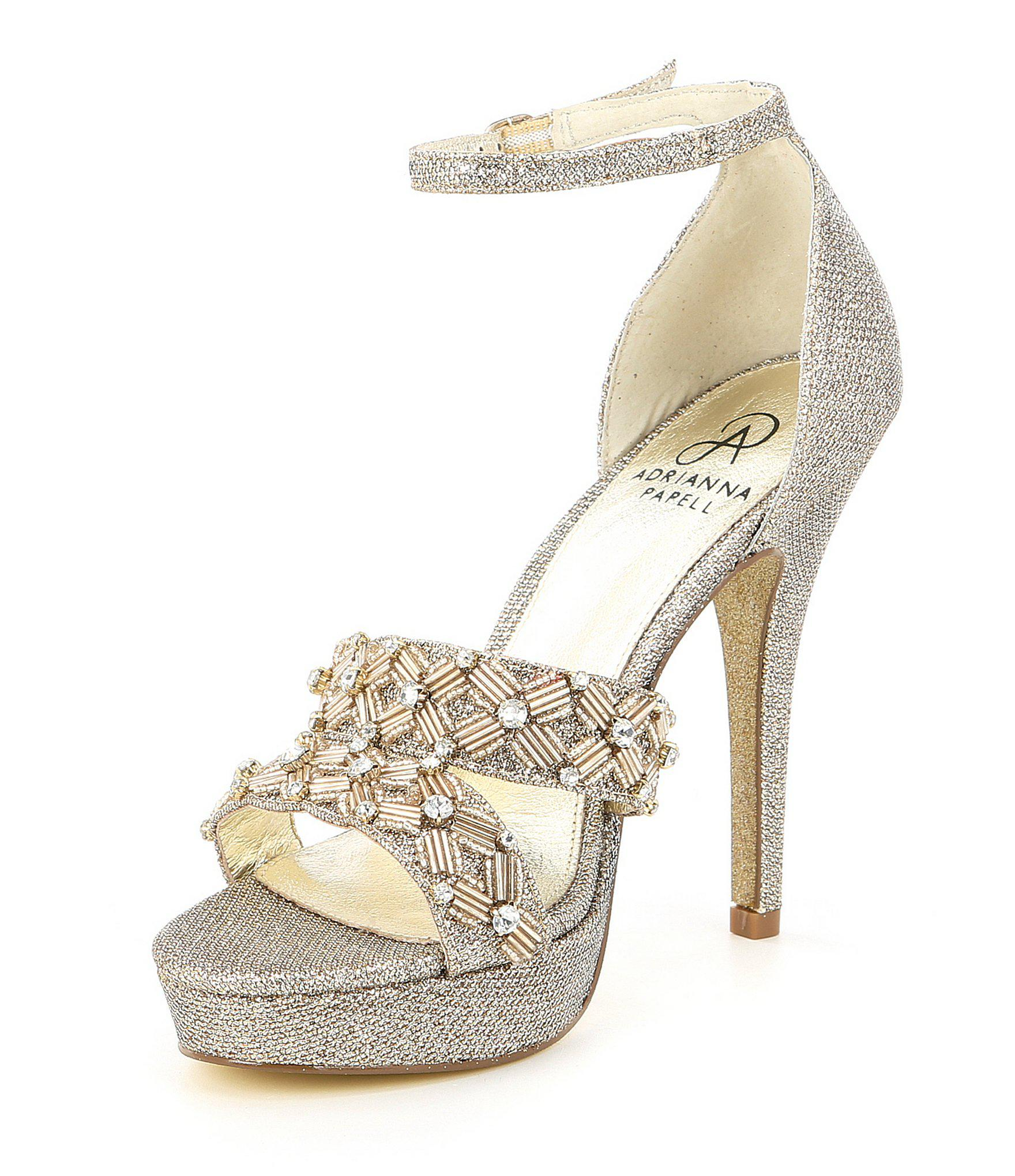 d4c295bd785 Adrianna Papell Marietta Metallic Jeweled Ankle Strap Platform Dress Sandals