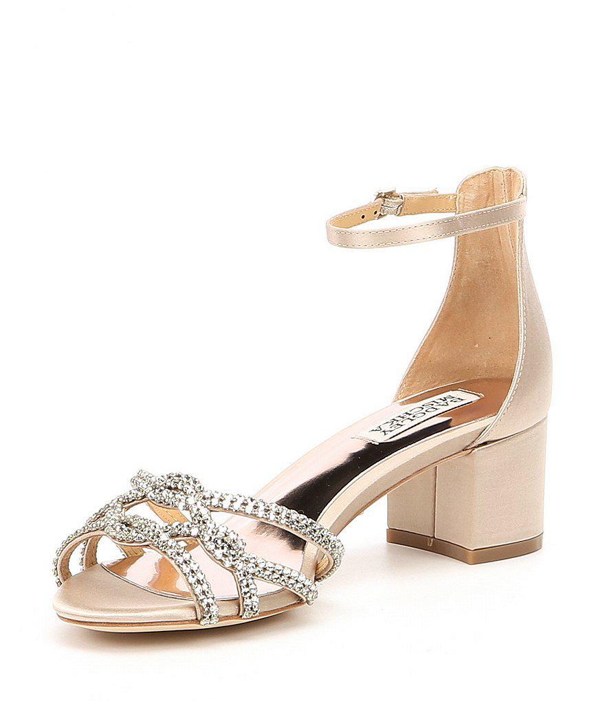 Sonya Satin Rhinestone Detail Ankle Strap Block Heel Dress Sandals hZd7V5KuW