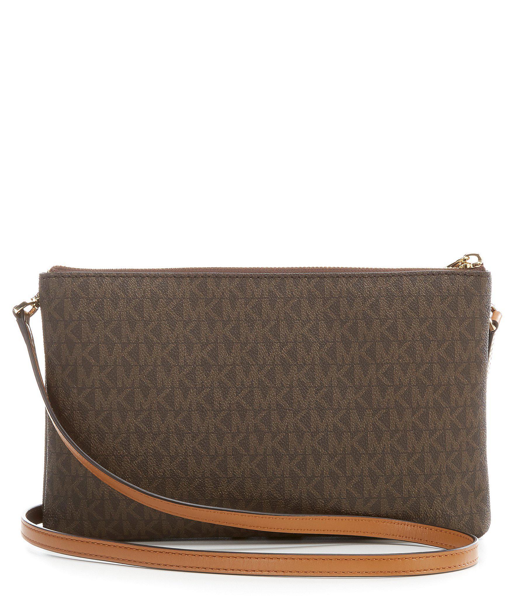 1c336f6e05c7 Lyst - MICHAEL Michael Kors Adele Double-zip Cross-body Bag in Brown