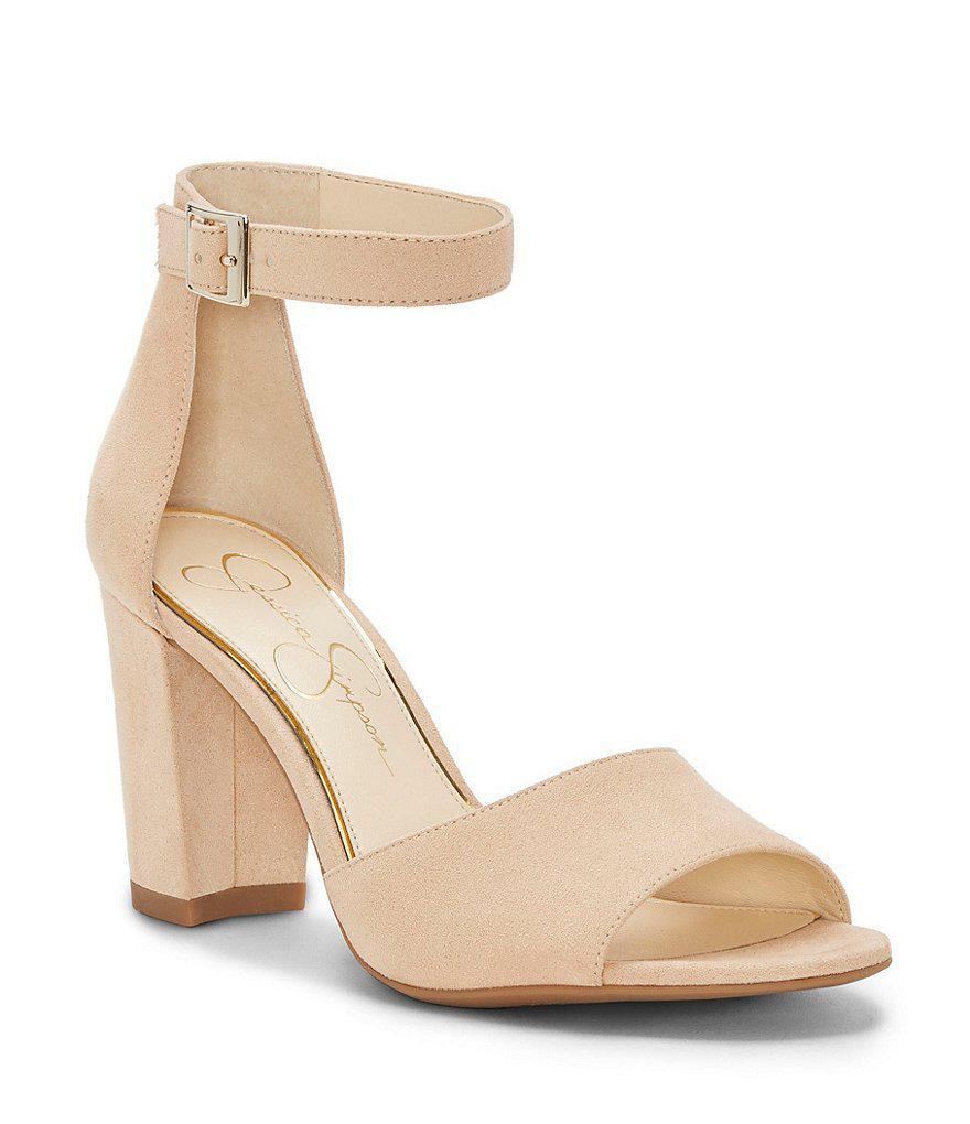 0bee751da8b Lyst - Jessica Simpson Sherron Microsuede Ankle Strap Block Heel ...