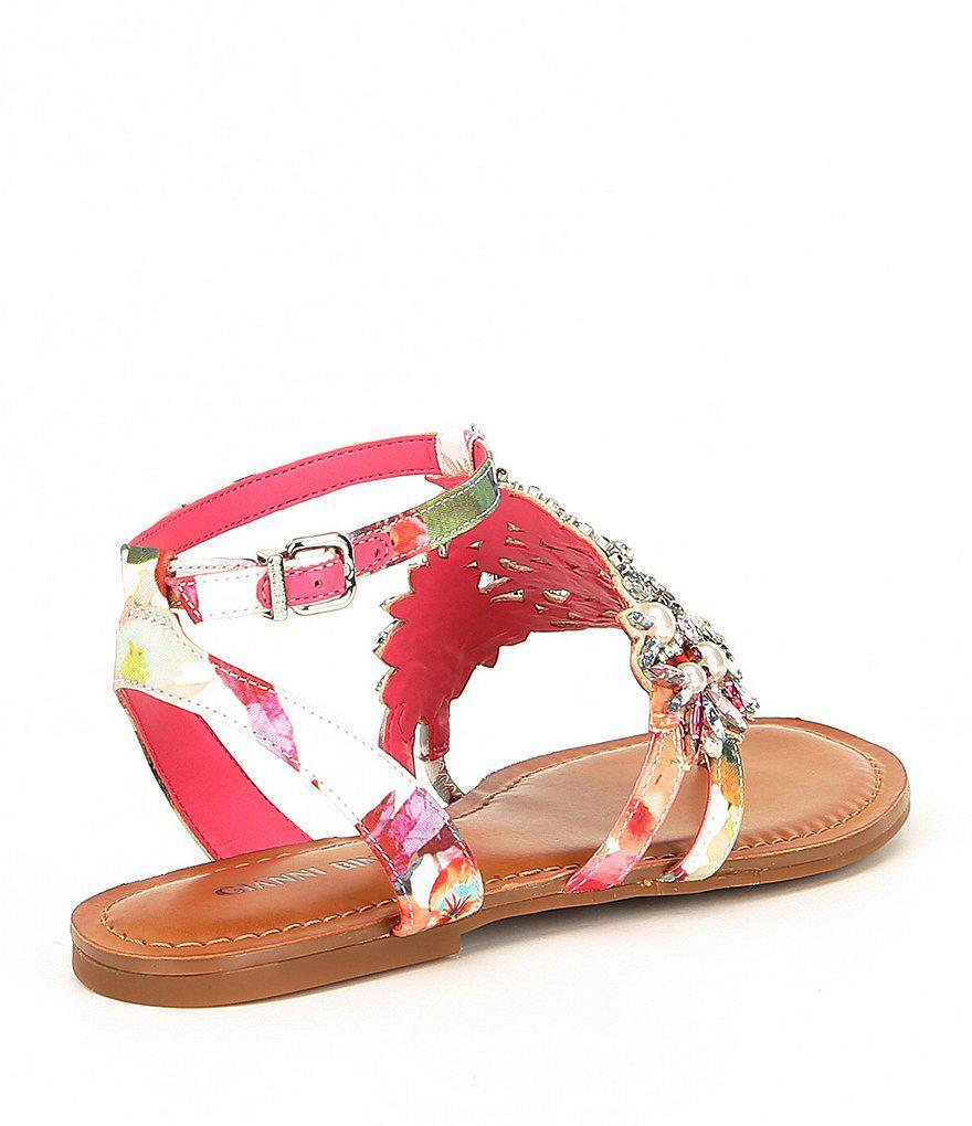 Oliviana Multi Floral Print Jeweled Pearl Detail Flat Sandals OPTAOc6Rl