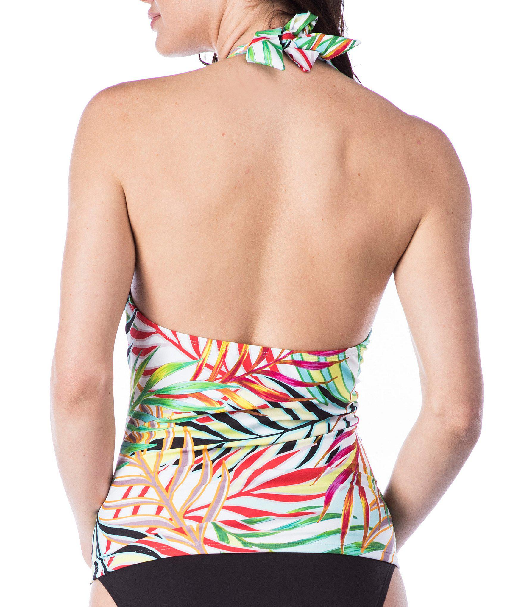 1d640d5a38 Lyst - Kenneth Cole Exotic Palm Plunge Tummy Toner Tankini Swimsuit Top