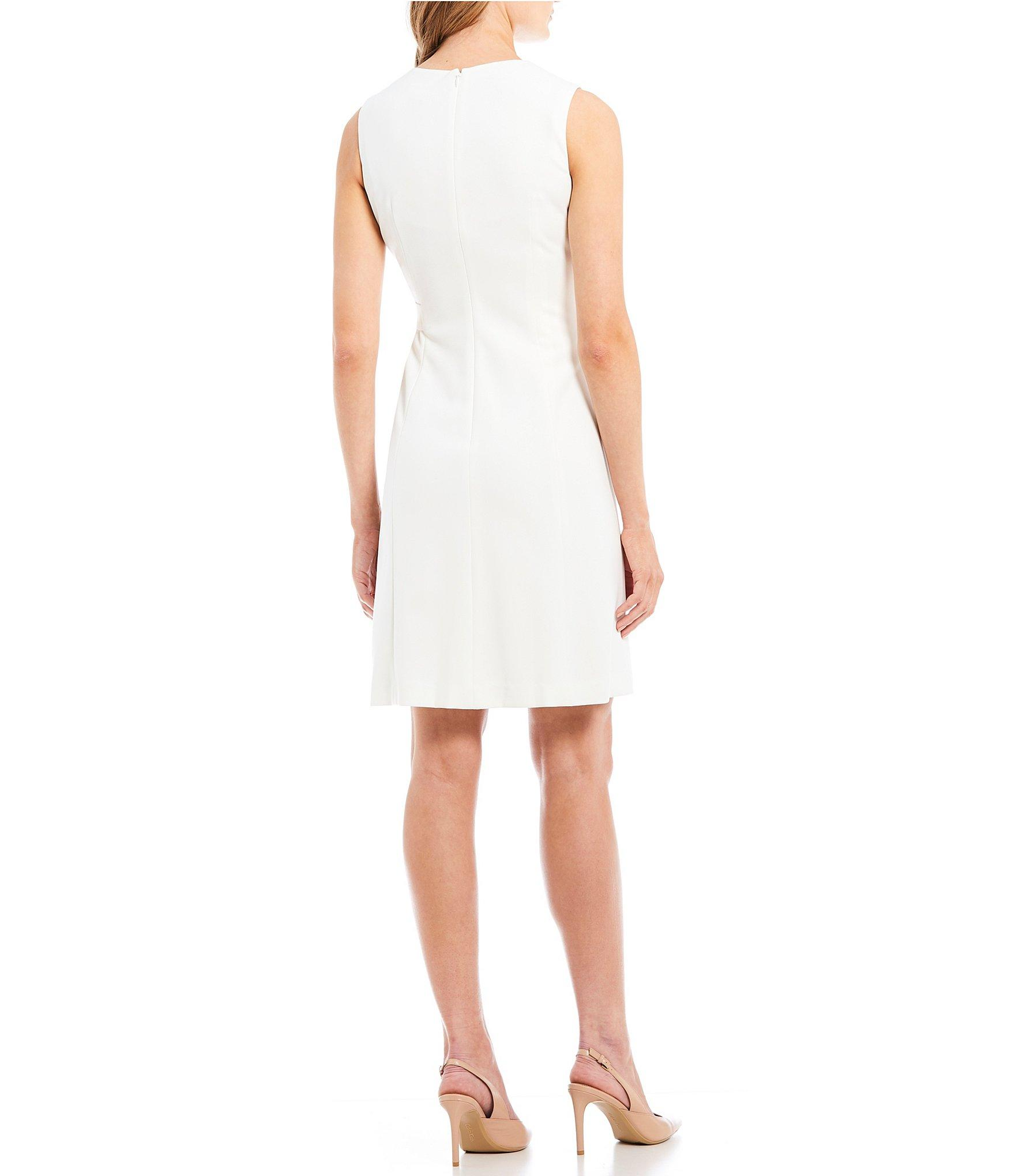 8acb58ea Calvin Klein - White V-neck A-line Gold Buckle Shift Dress - Lyst. View  fullscreen