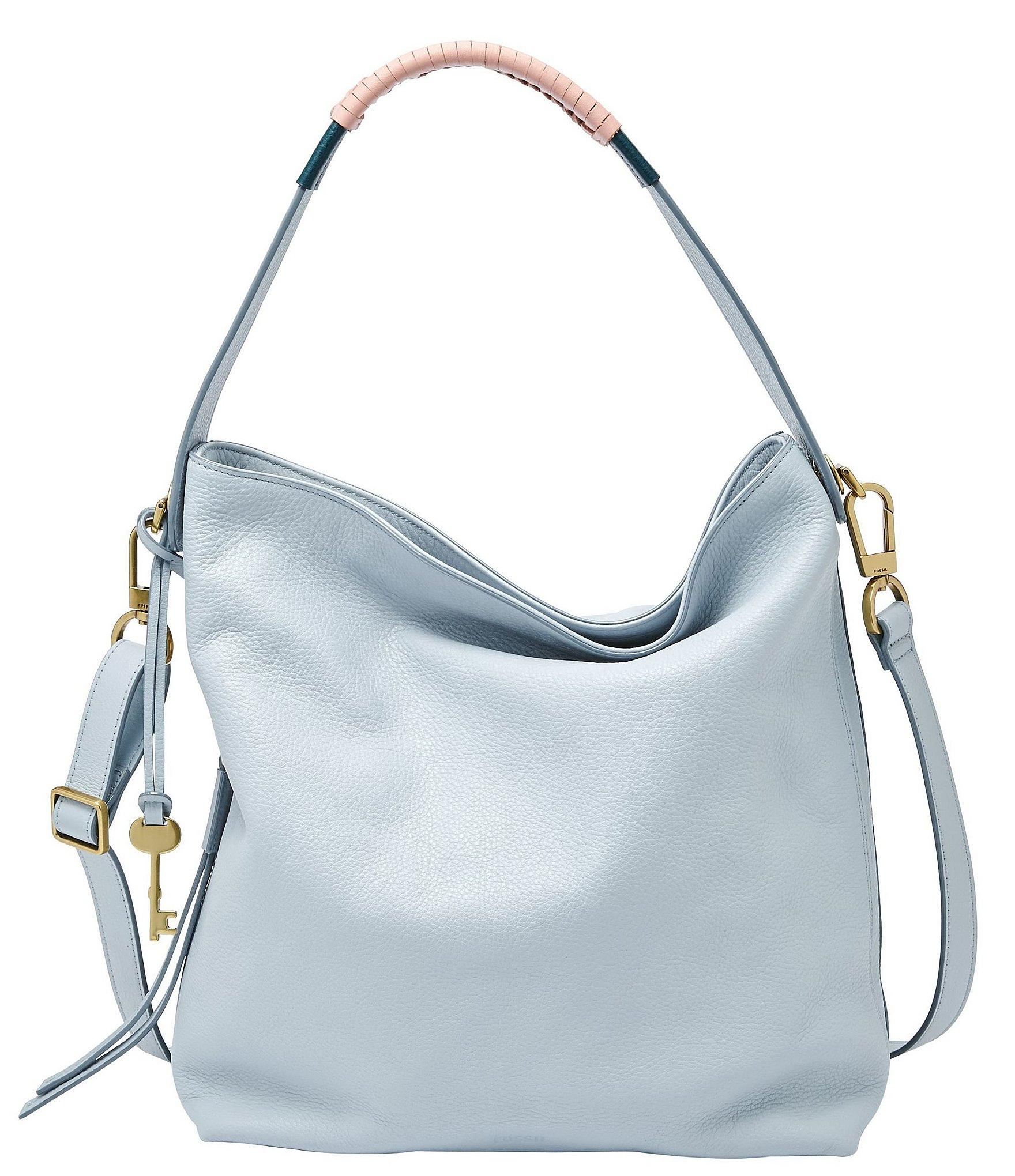 Lyst - Fossil Maya Small Leather Hobo Bag in Blue 8000a378151c0