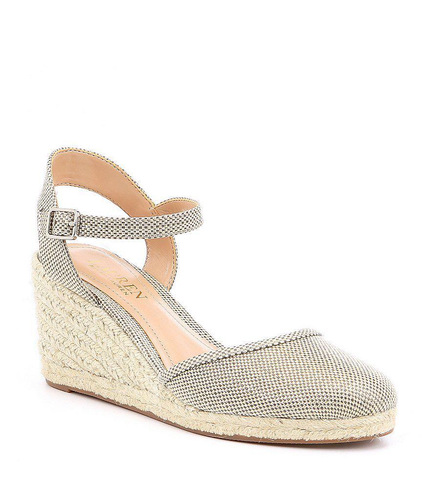 e0317445c11 Lauren by Ralph Lauren Hayleigh Metallic Espadrille Wedge Sandals