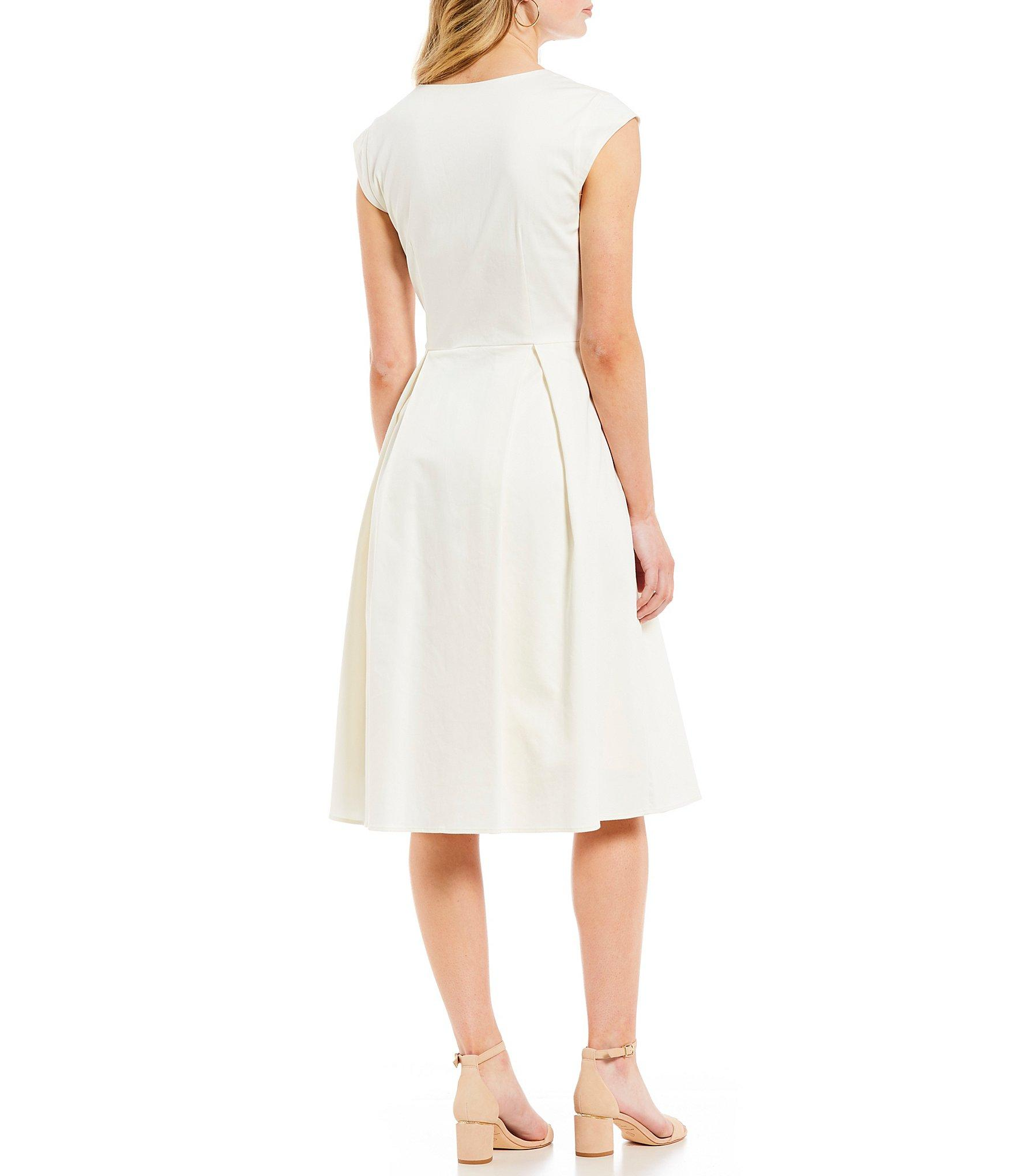 9351f98a474 Antonio Melani - White Bree Split V-neck Cap Sleeve Pocketed Tie Detail Fit   . View fullscreen