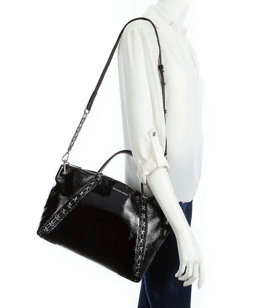 f1dd11c4ee3a ... uk lyst michael michael kors sadie patent chain large satchel in black  ac871 da2d2