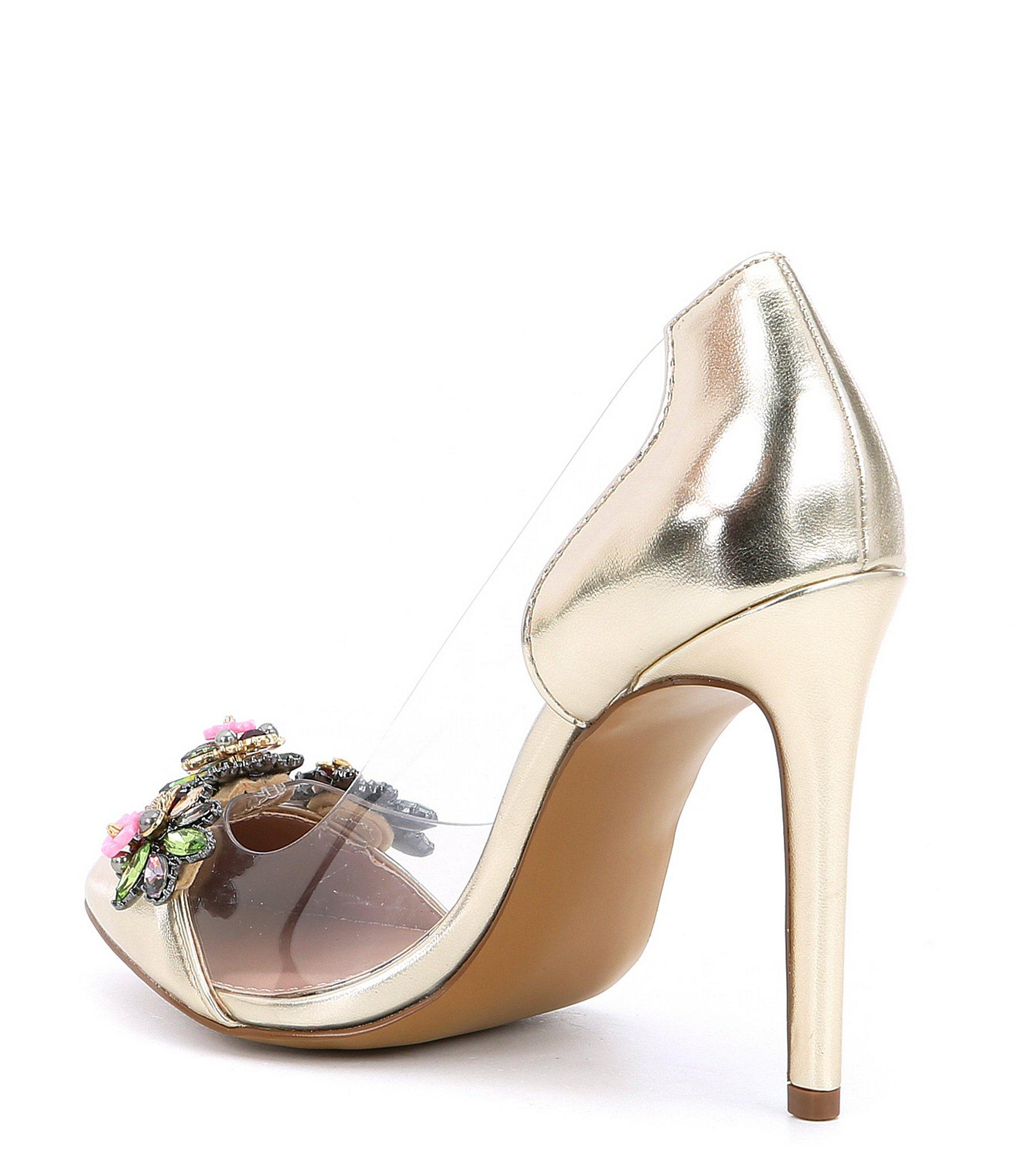 8be765b3400 Betsey Johnson Multicolor Jane Glitter Clear Lucite Floral Dress Pumps