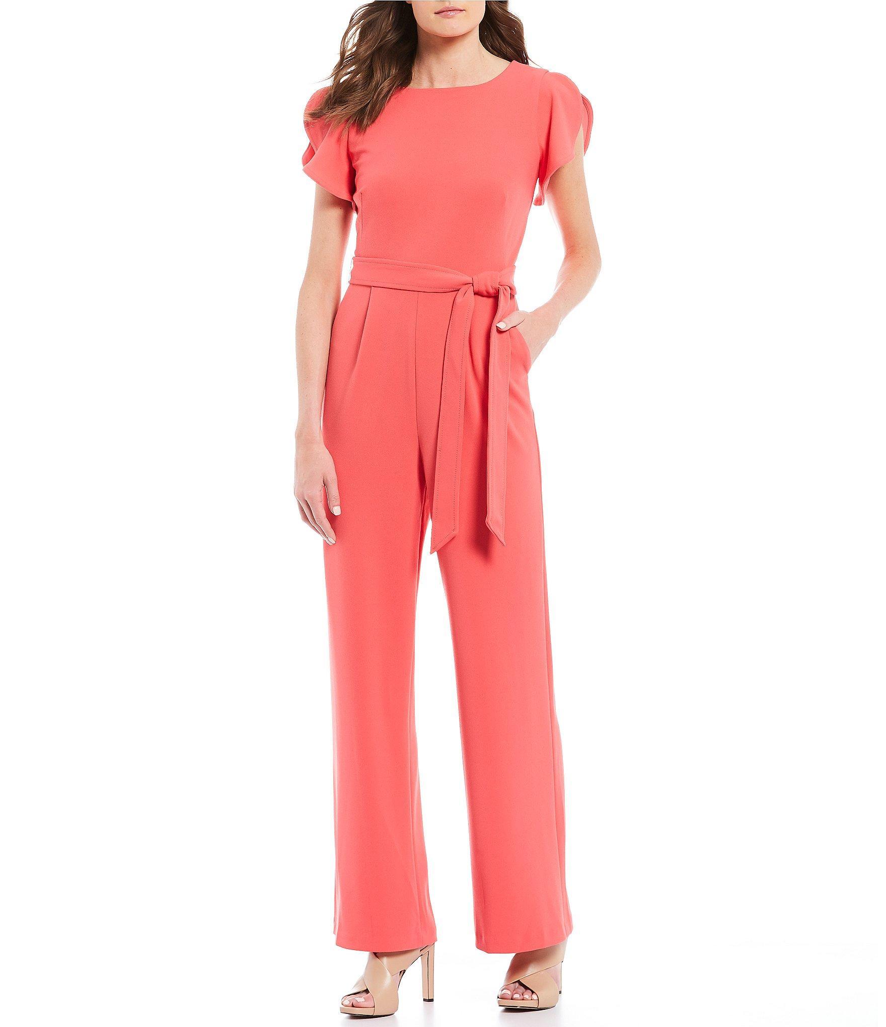 533e887cd66a Calvin Klein - Red Split Ruffle Sleeve Tie Waist Jumpsuit - Lyst. View  fullscreen