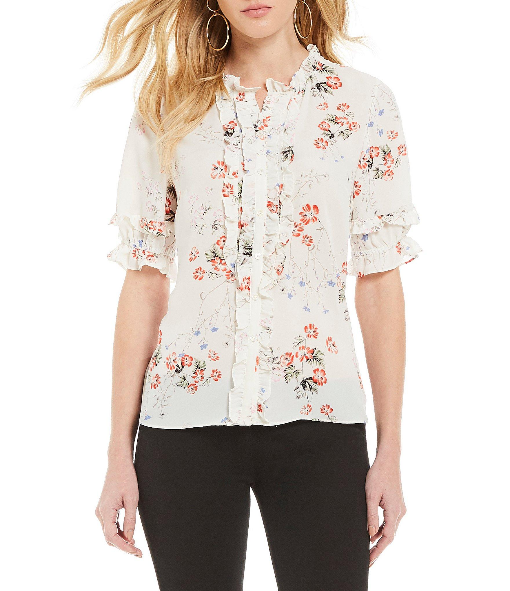 c3e796ea03c Cece. Women s Short Sleeve Ruffled Floral Print Button Down Blouse
