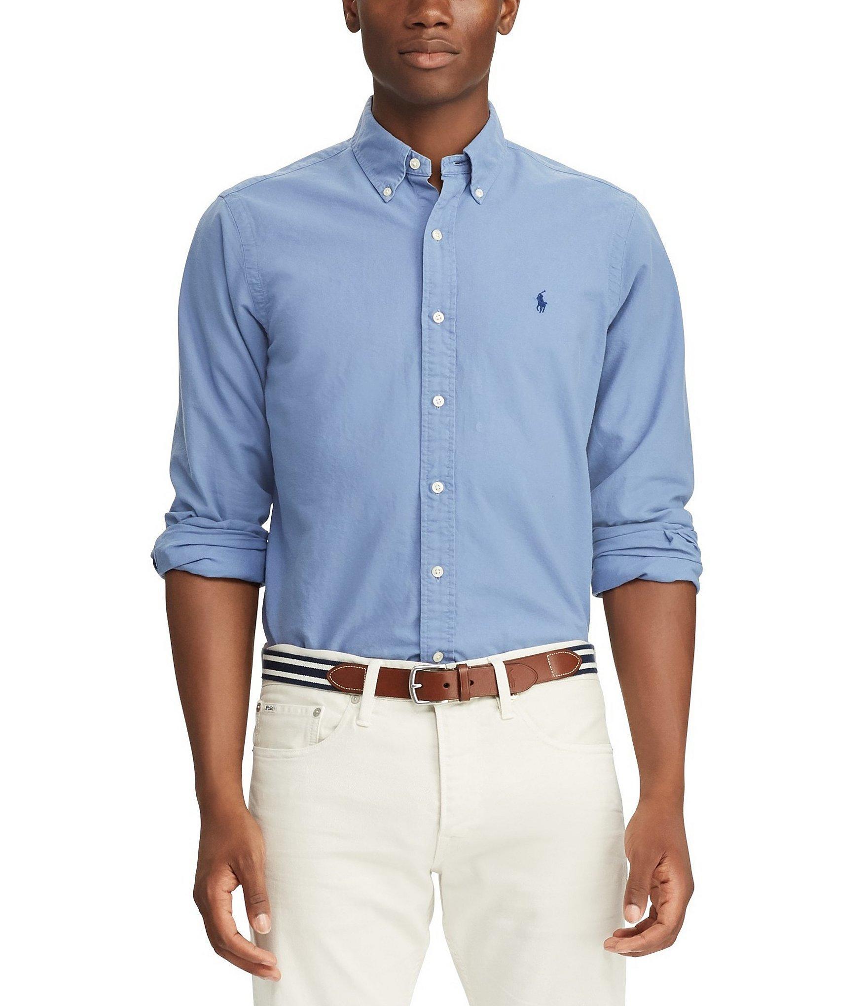 8d05aaeb Lyst - Polo Ralph Lauren Solid Garment-dye Oxford Long-sleeve Woven ...