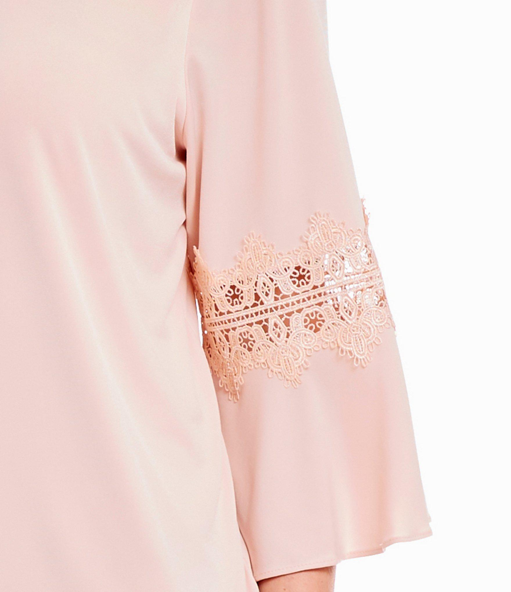 90008c0d52315f Lyst - Calvin Klein Plus Size Lace Inset Bell Sleeve Top in Pink