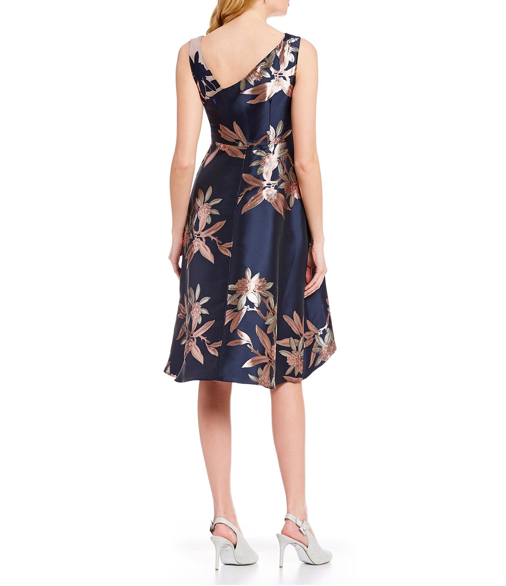 07aaf6e5017f3 Adrianna Papell - Blue Petite Size Floral Print Jacquard Sleeveless Cascade  Hi-low Dress -. View fullscreen