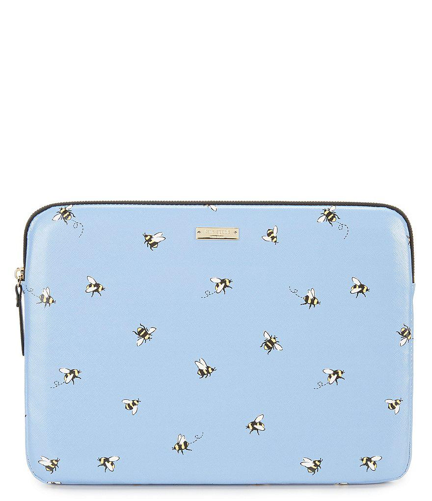 new york 126e0 6dadf Kate Spade Blue 13 Inch A Bumble Bee Buzz Laptop Sleeve