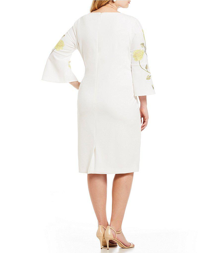 ab38ff1cb7b Tahari Plus Size Rose Embroidered Long Bell Sleeve Shift Dress in ...