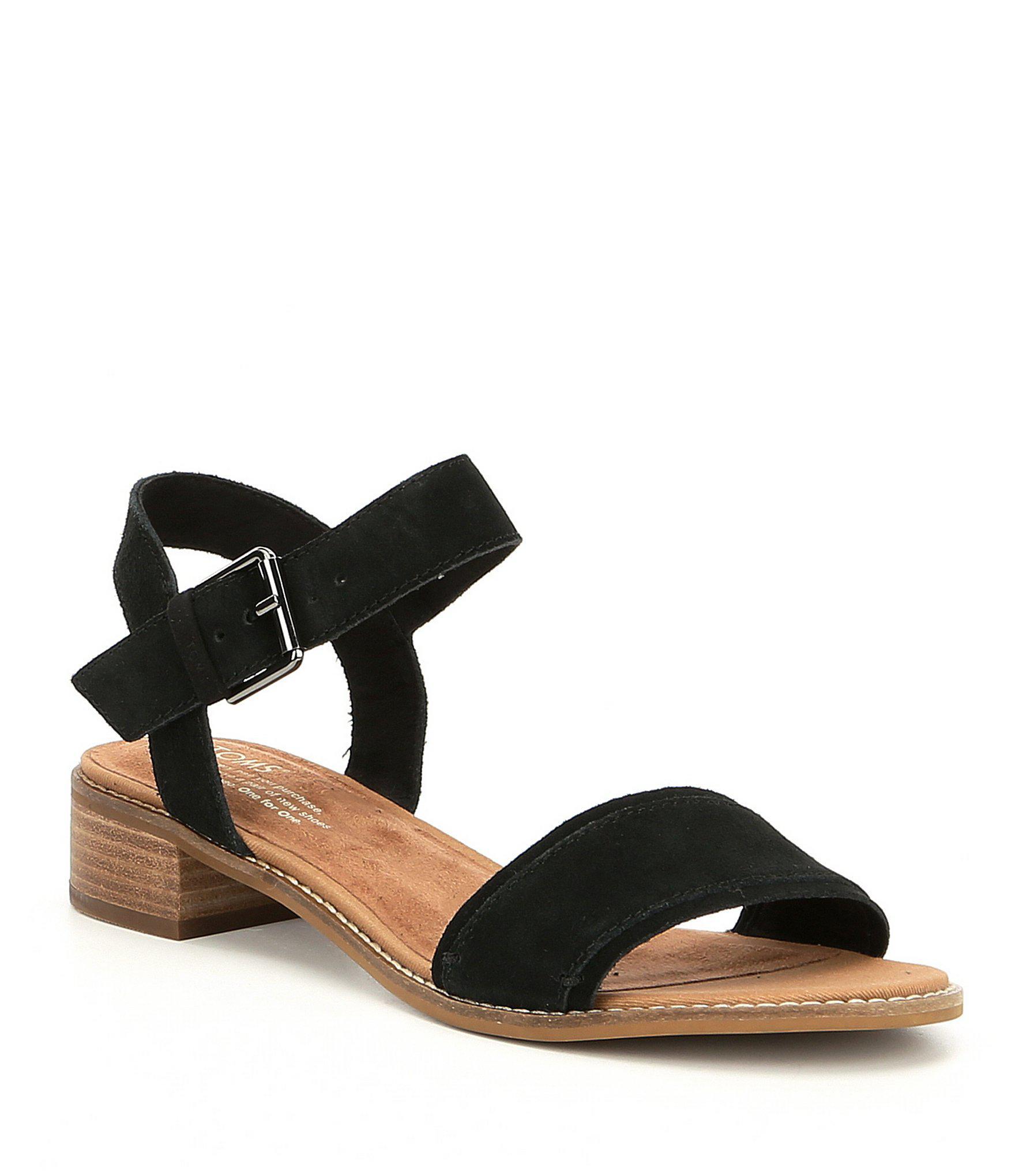 417bc8fad87 Lyst - TOMS Camilia Suede Block Heel Sandals in Black