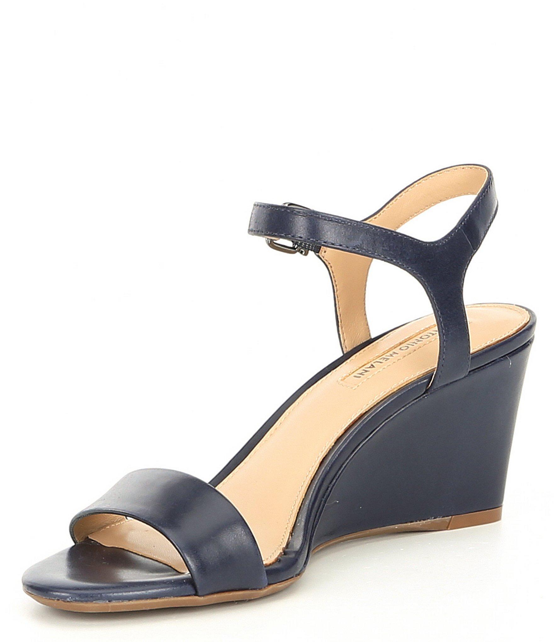 3410220e00e4 Antonio Melani - Blue Floraina Leather Ankle Strap Wedges - Lyst. View  fullscreen