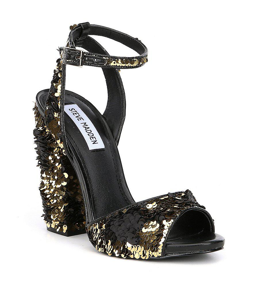 Ritzy Sequin Block Heel Dress Sandals q53Gm
