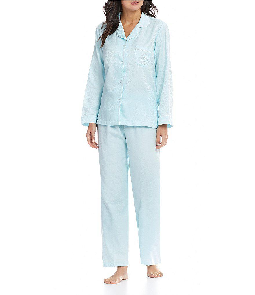 Lyst Miss Elaine Jacquard Brushedback Satin Pajamas in Blue
