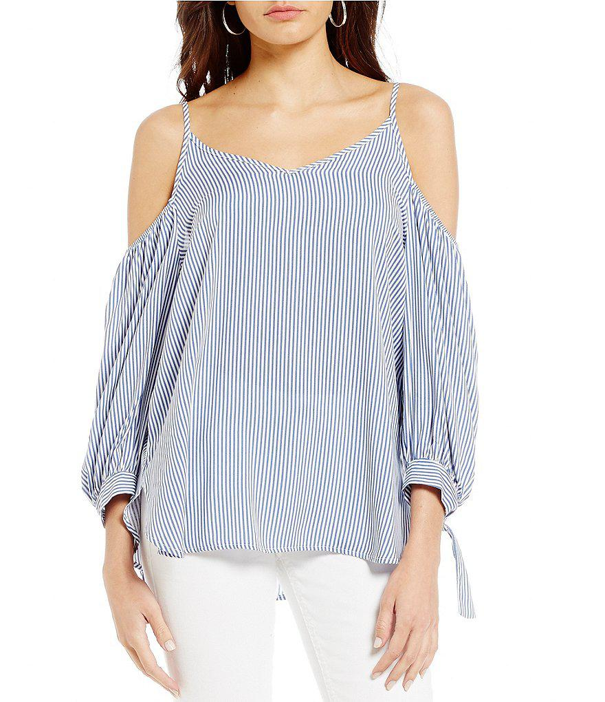 360dfbea9918b Lyst - Soprano Striped Cold Shoulder Tie-sleeve Top in Blue