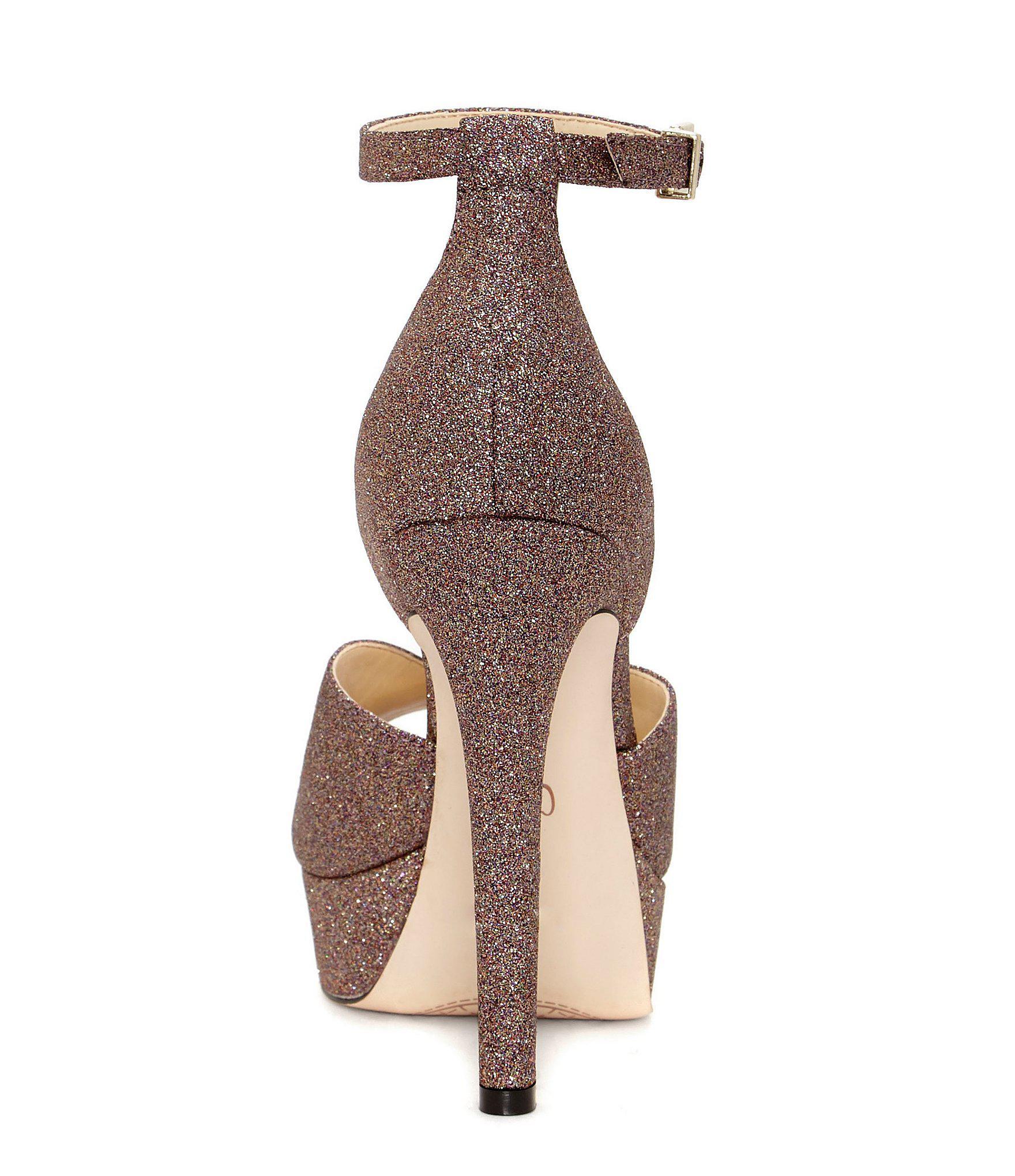 720eb110e01 Lyst - Jessica Simpson Briya Micro Glitter Peep Toe Platform With ...