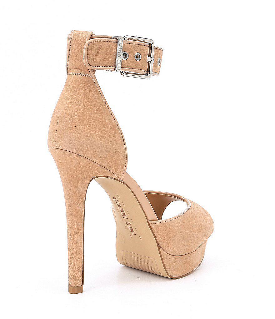 35dcdb431 Gianni Bini Juliannaa Leather Ankle Strap Platform Dress Sandals in ...