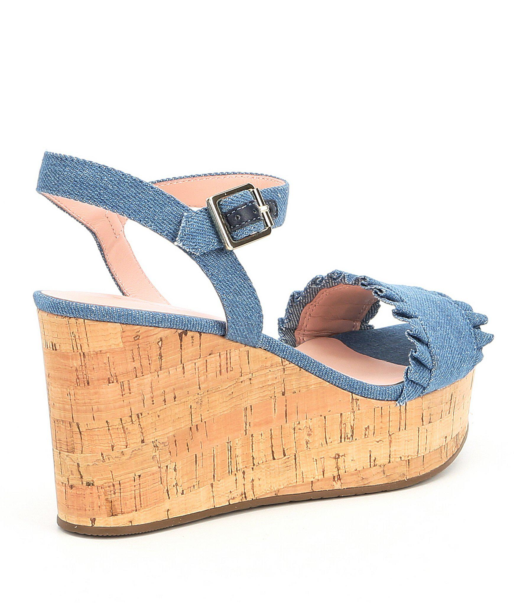 a1f85ec96cf Lyst - Kate Spade Tomas Denim Ruffle Detail Wedge Sandals in Blue