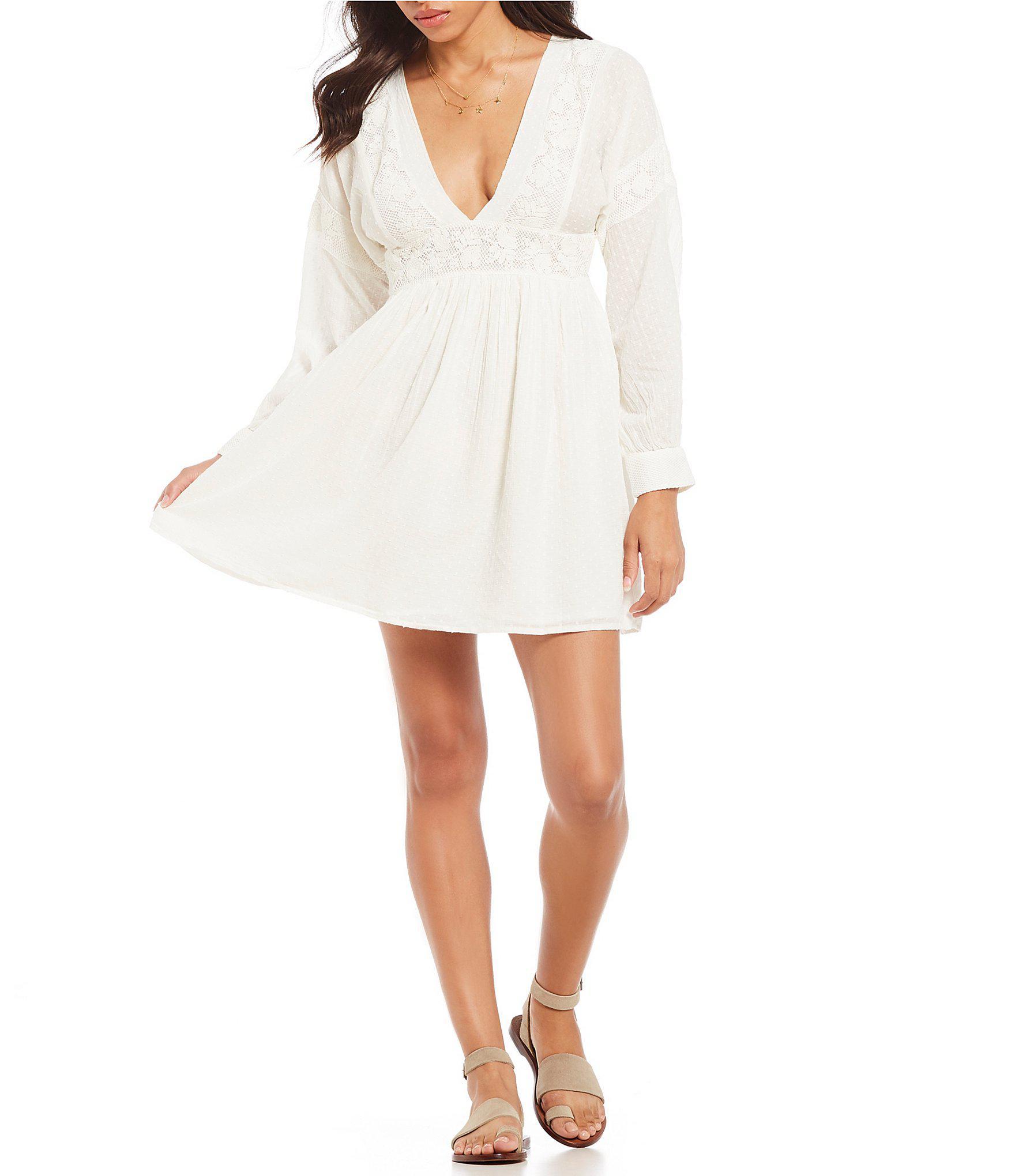 bae52c62207b Free People Sugarpie Embroidered Prairie Mini Dress in White - Lyst