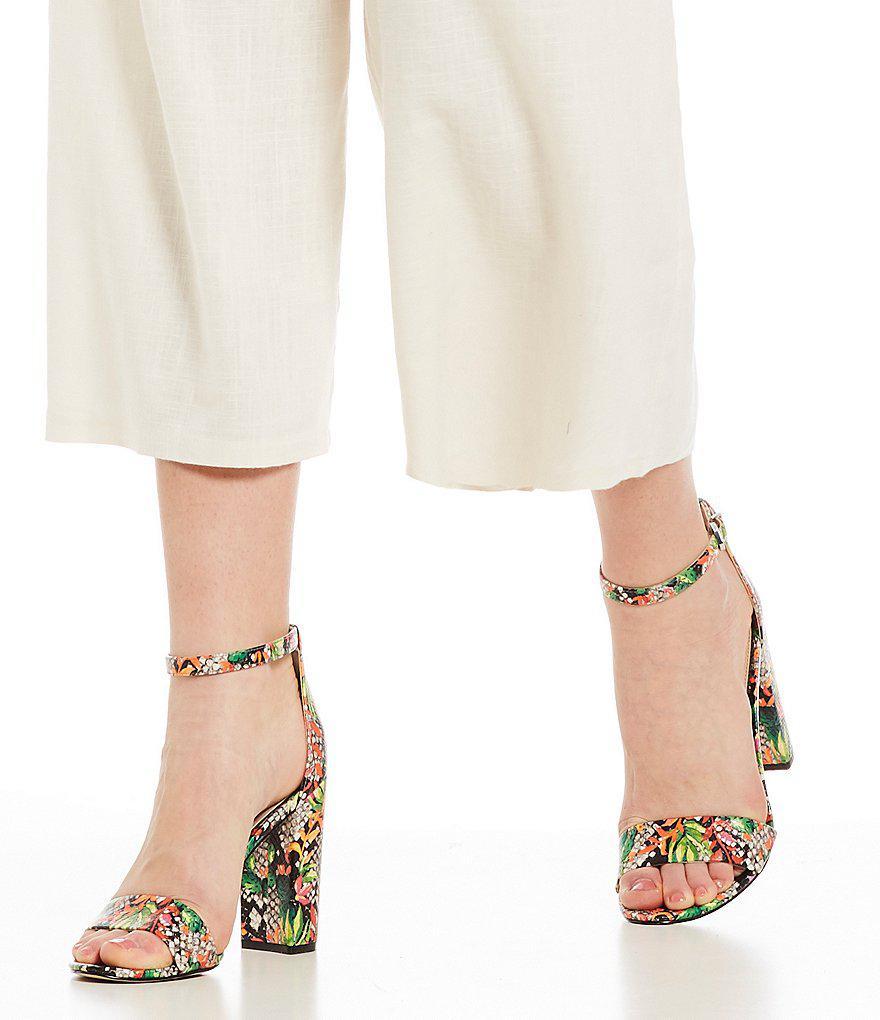 4ef182748ab1c0 Lyst - Sam Edelman Yaro Blooming Cactus Ankle Strap Block Heel Dress ...