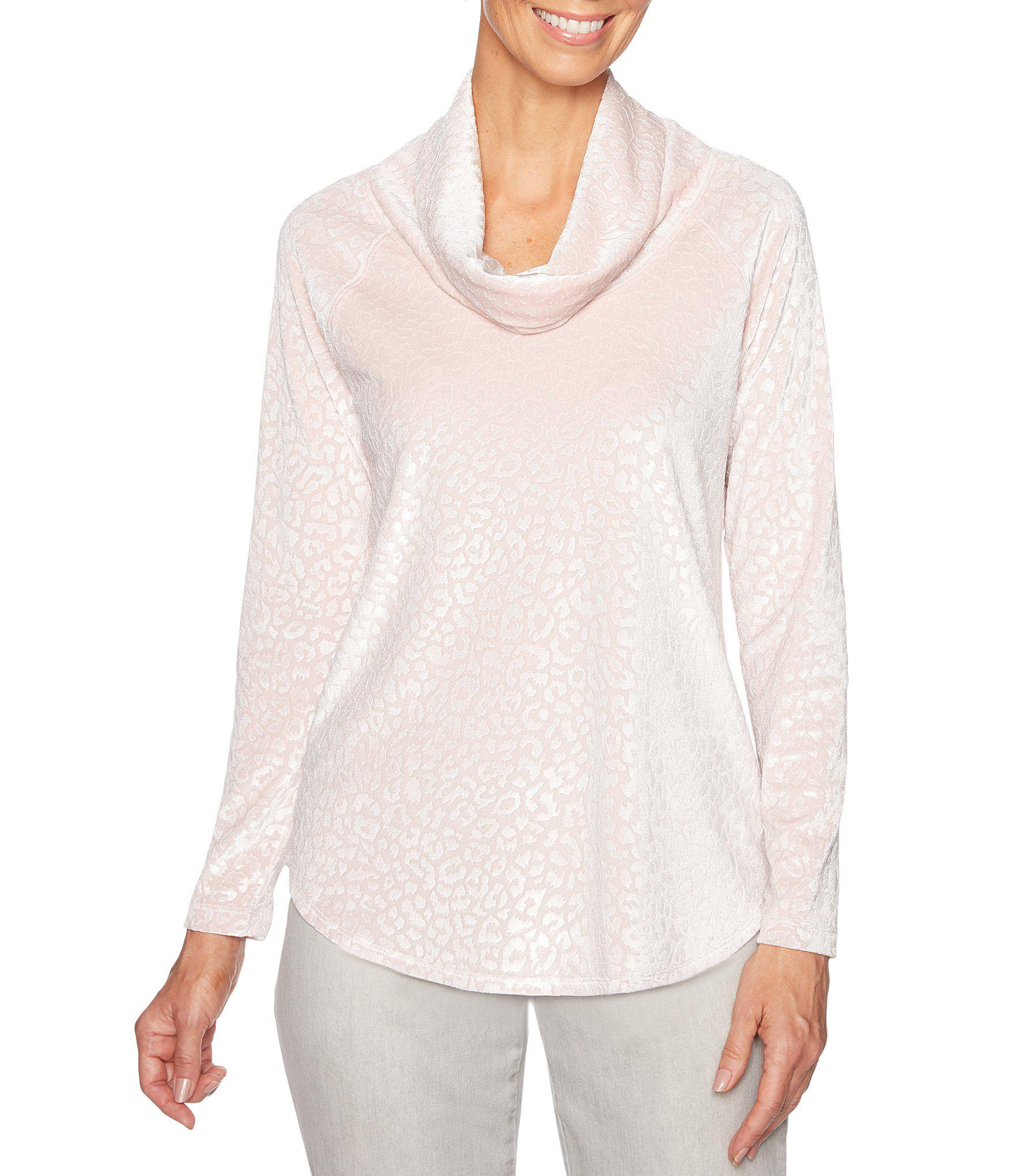 56778b30c0ce3 Ruby Rd. Women s Pink Petite Size Animal Embossed Velour Cowl Neck Pullover  Top