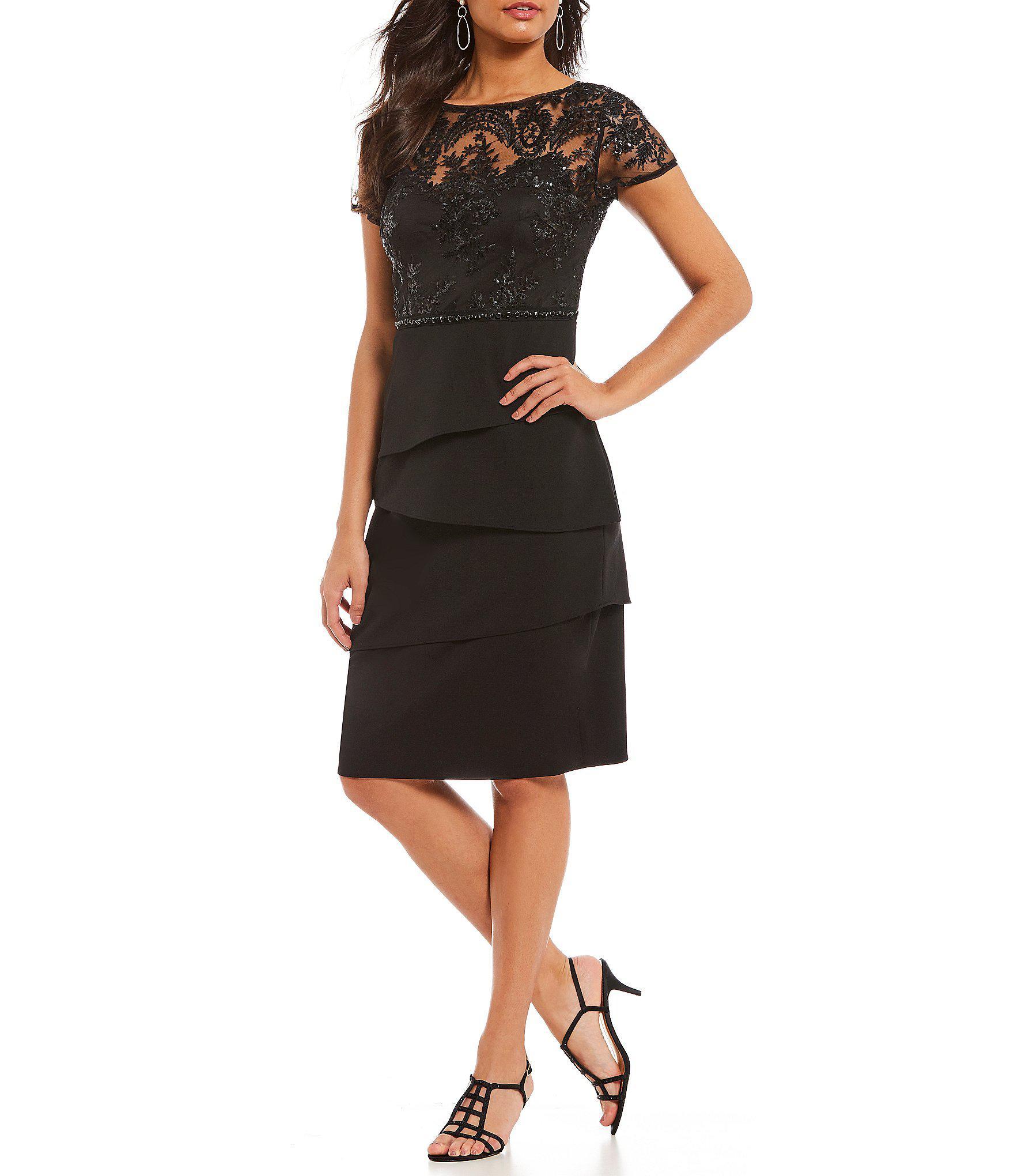 5a6e838e2e Adrianna Papell. Women's Black Petite Short Sleeve Sequin Bodice Tiered  Dress