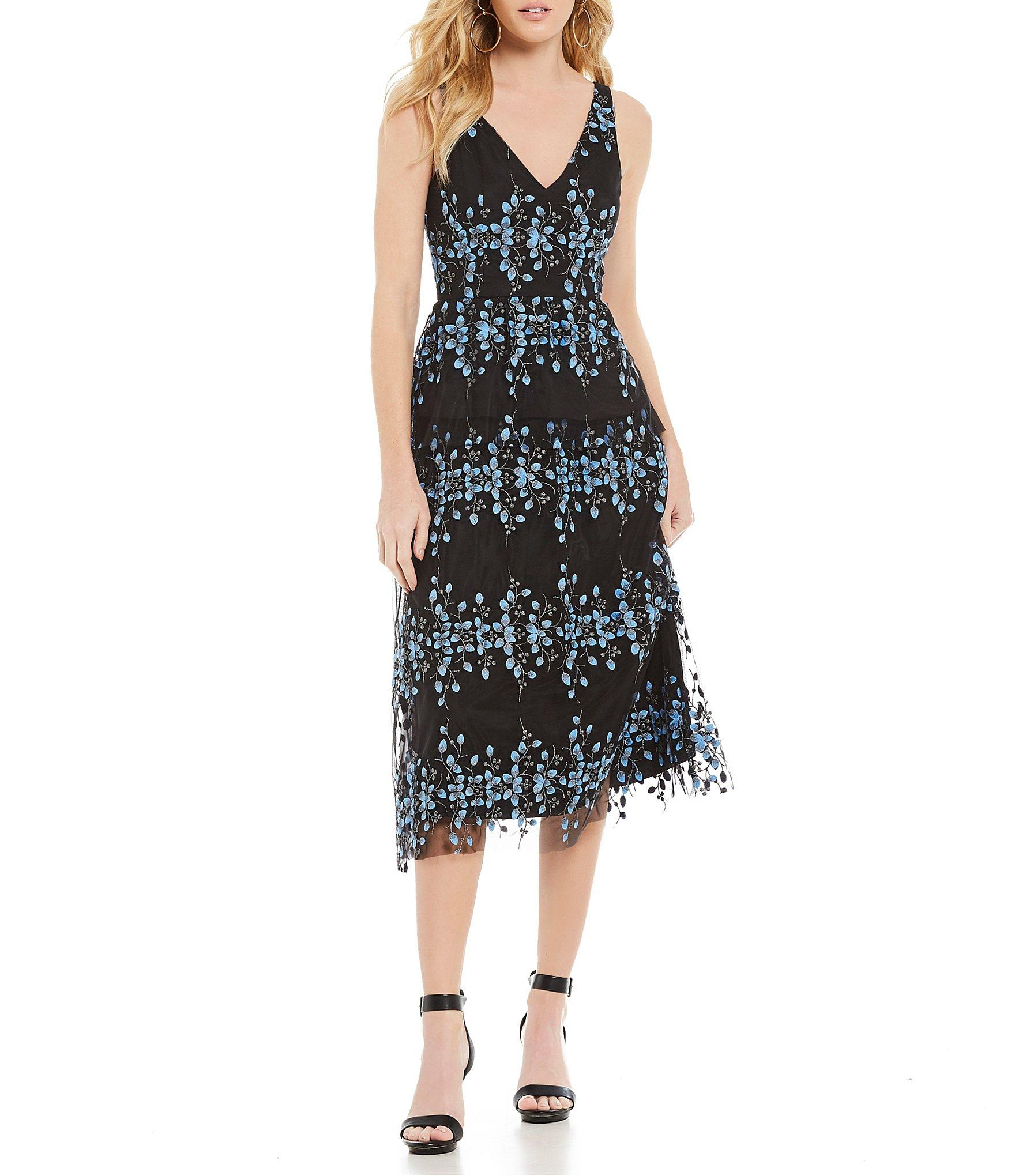 ea47de7b6e6 Gianni Bini - Black Emily Embroidered Midi Dress - Lyst. View fullscreen