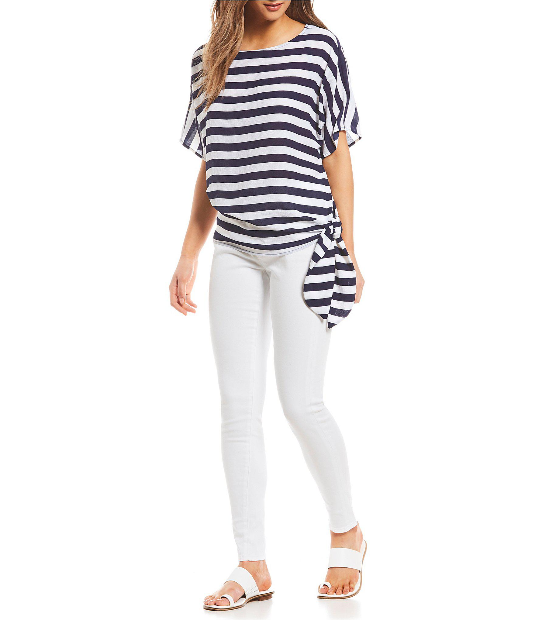 80fa6fabe0d Lyst - Michael Michael Kors Graphic Stripe Print Side-tie Top in Blue