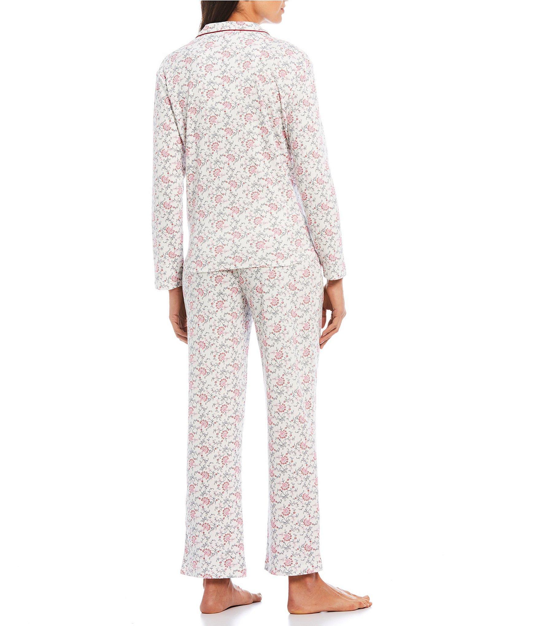 KAREN NEUBURGER Soft Cotton PYJAMA BOTTOMS Lounger Pants PURPLE Multi Plaid