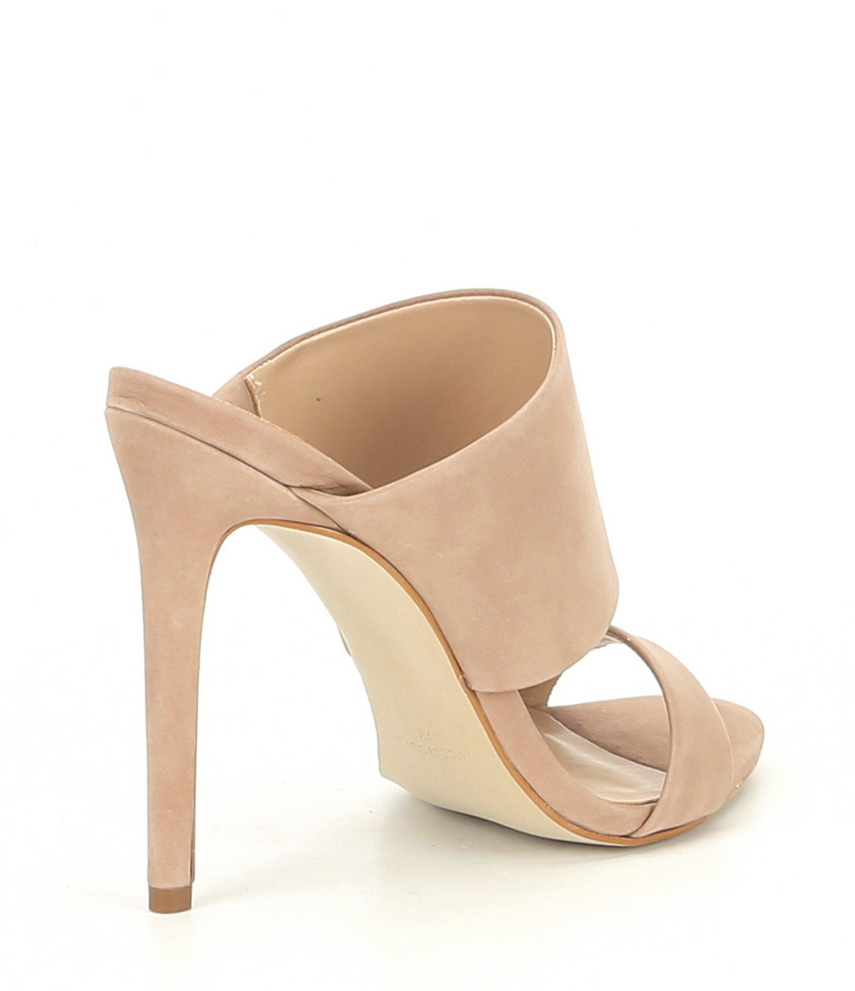 01fd7dfb697 Lyst - Steve Madden Mallory Nubuck Stiletto Sandals in Natural
