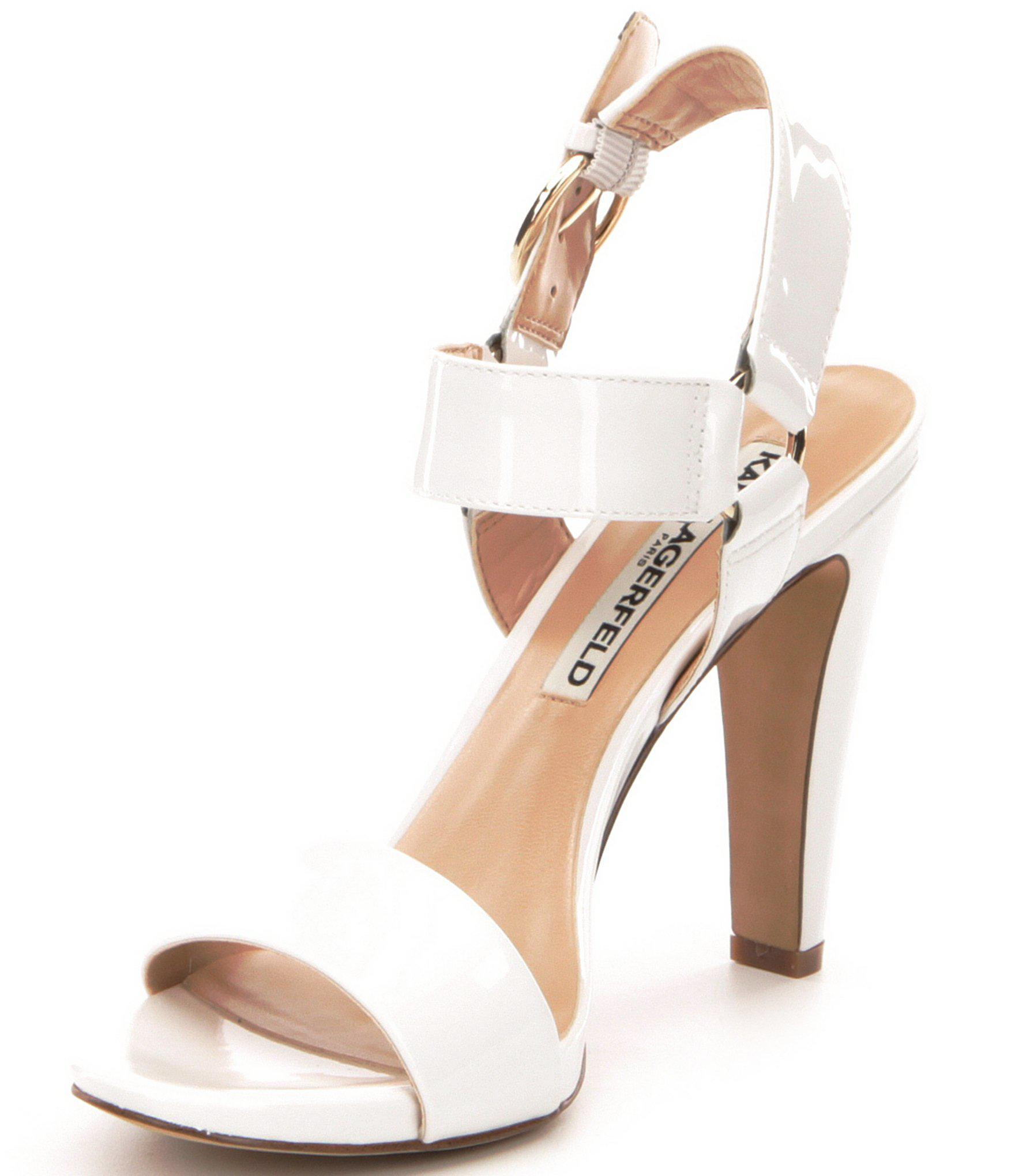 1d2f66f2a24 Lyst - Karl Lagerfeld Cieone Ankle Strap Patent Leather Dress ...