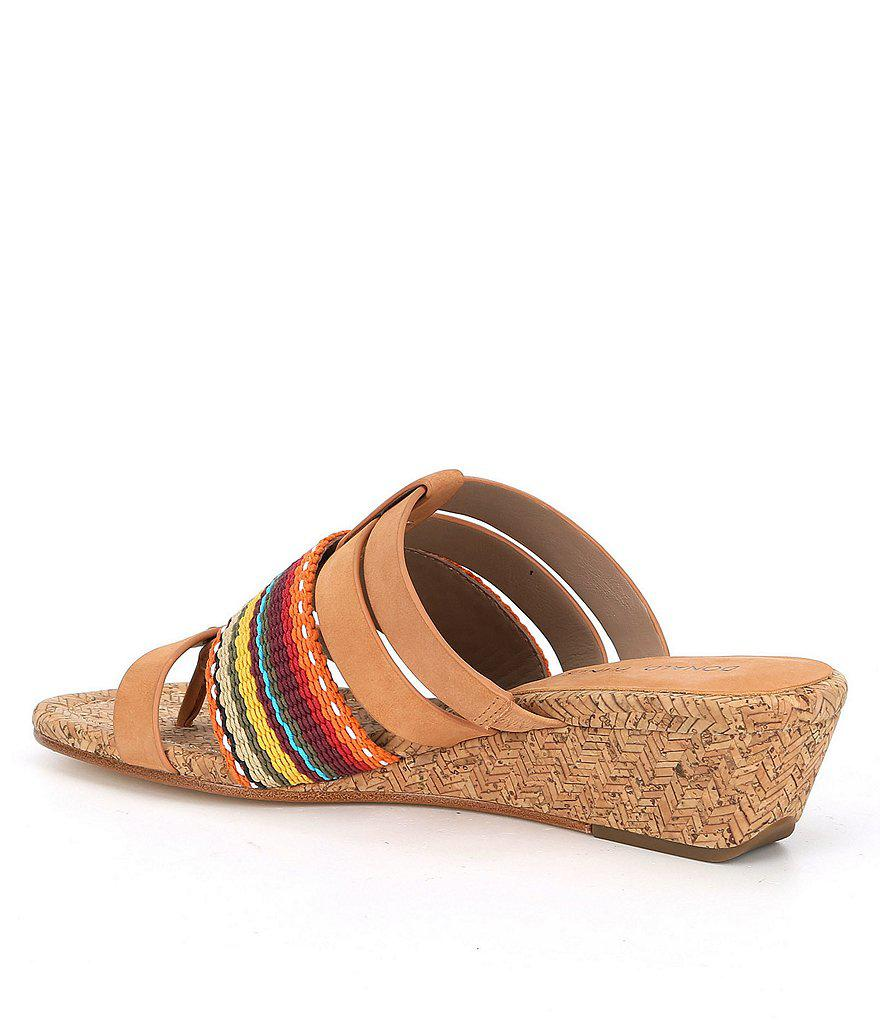 Dara Striped Nubuck Leather Thong Wedge Sandals iHvyfS