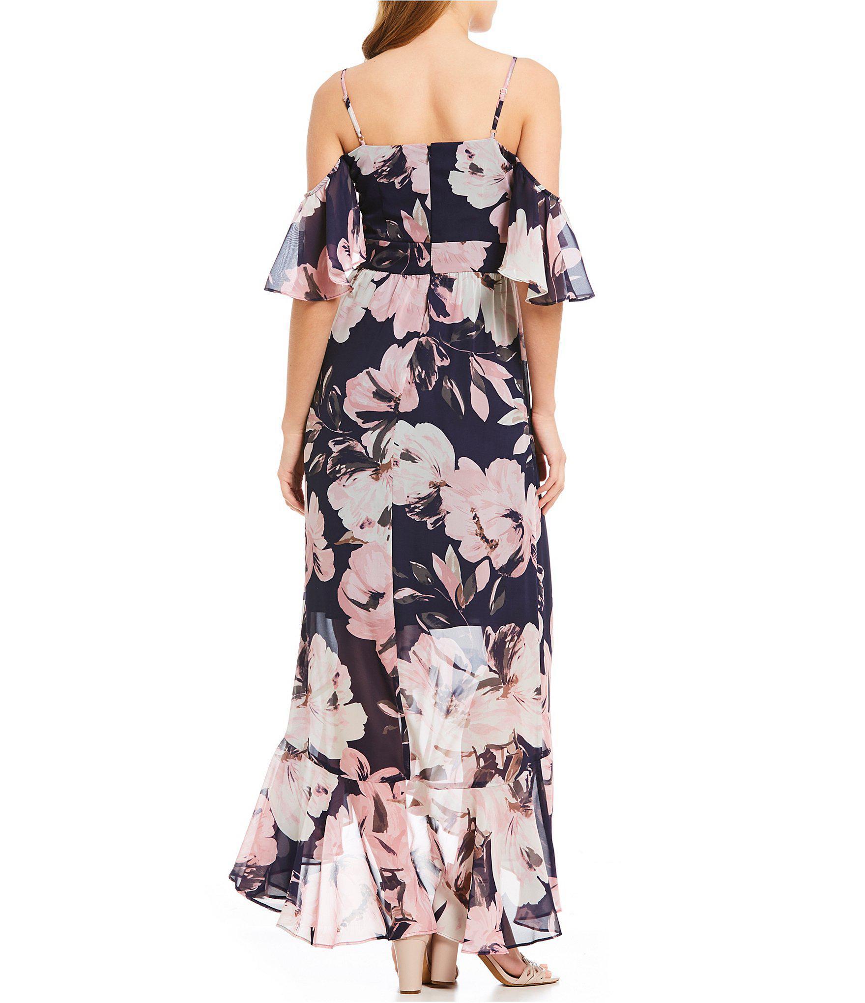 826dfa8f548d8a Lyst - Vince Camuto Chiffon Maxi Floral Print Cold Shoulder Hi-low ...