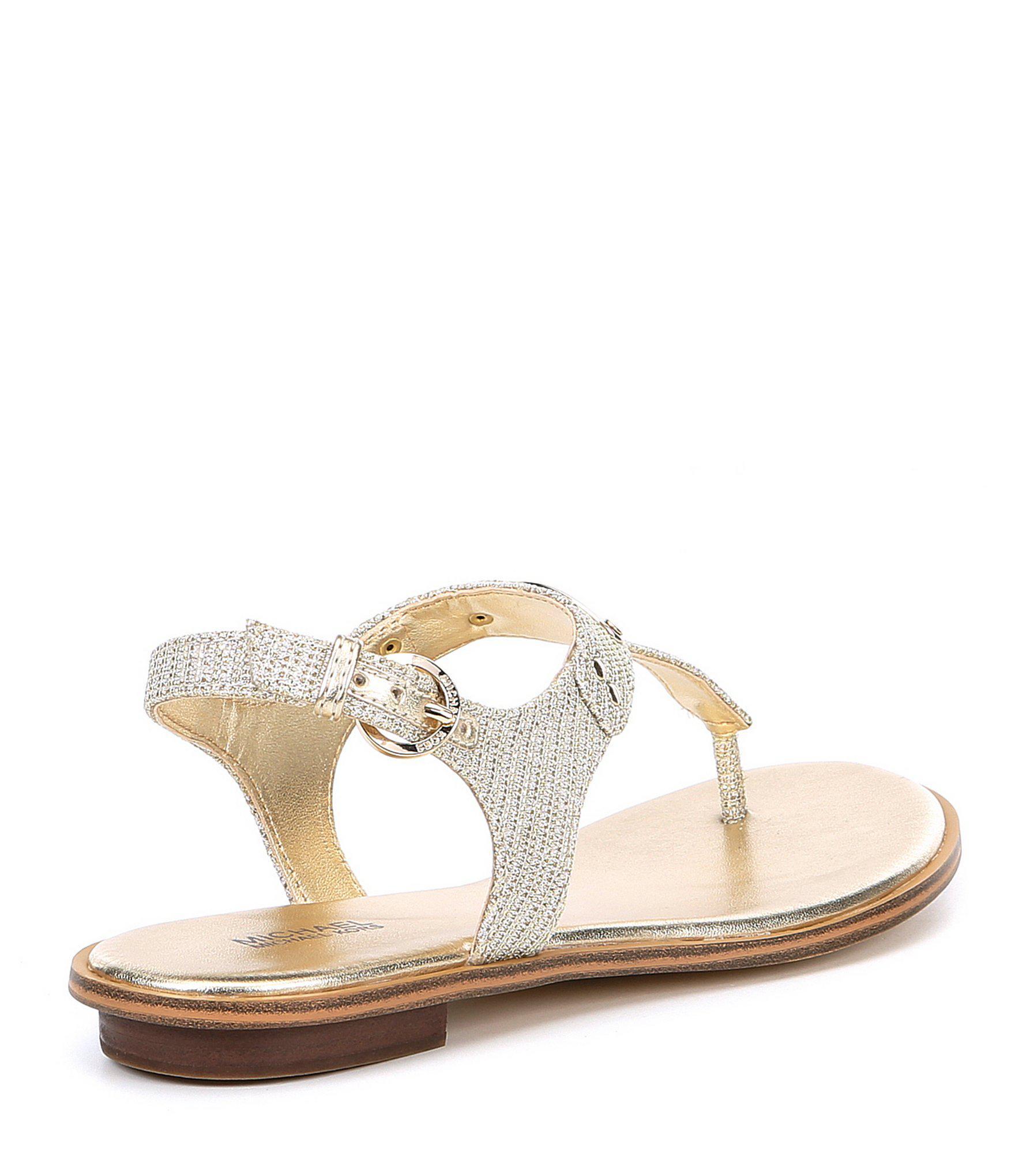 7b4b7291fb0828 MICHAEL Michael Kors - Metallic Mk Plate Glitter Thong Sandals - Lyst. View  fullscreen