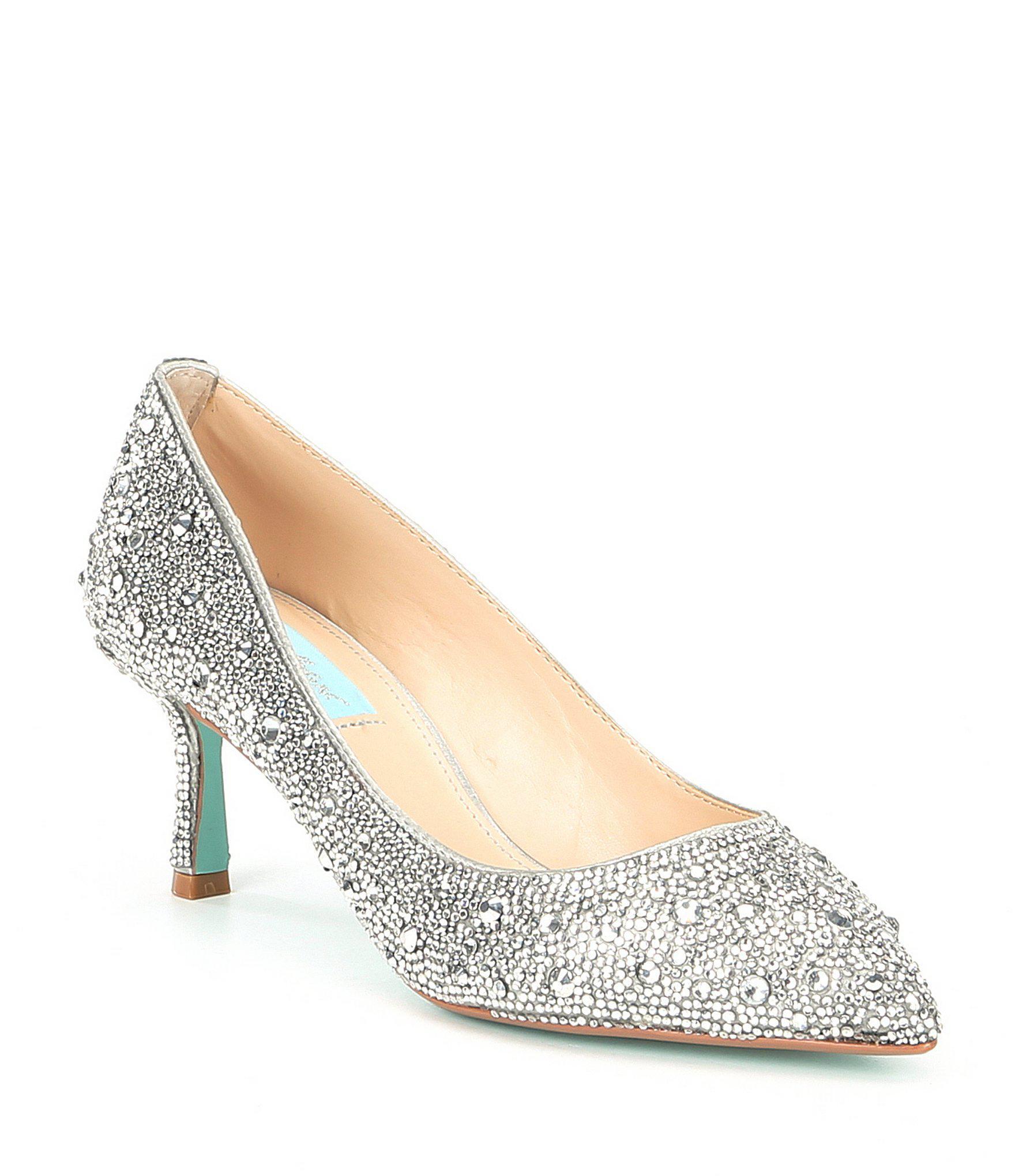 7b6ce7fa1cf Betsey Johnson. Women s Metallic Blue By Jora Glitter Jeweled Kitten Heel  Pumps