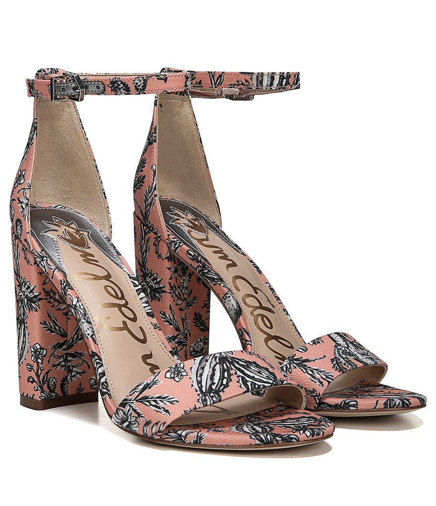Yaro Cactus Garden Print Ankle Strap Block Heel Dress Sandals SR69kqjG