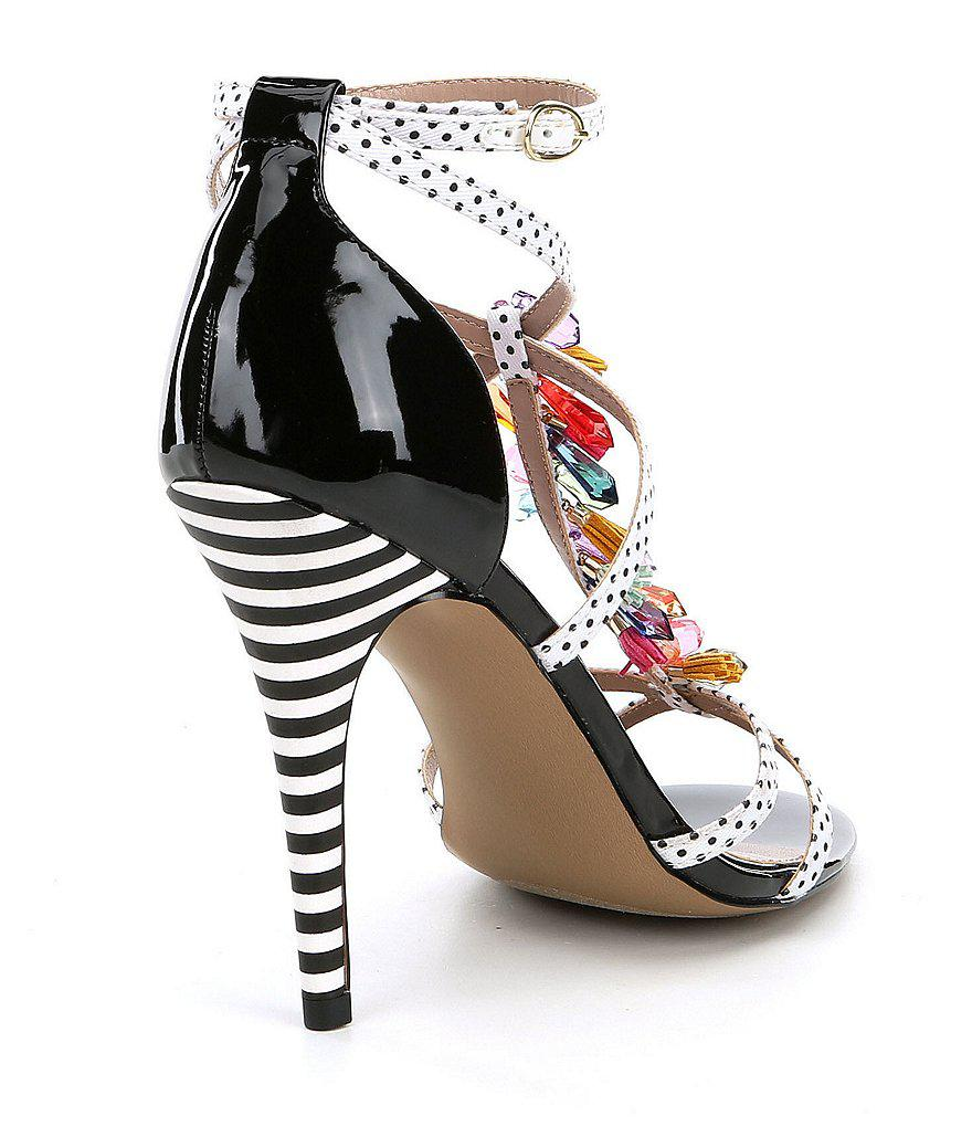 Betsey Johnson Clarice Polka Dot Tassel and Rhinestone Strappy Dress Sandals qB6fu