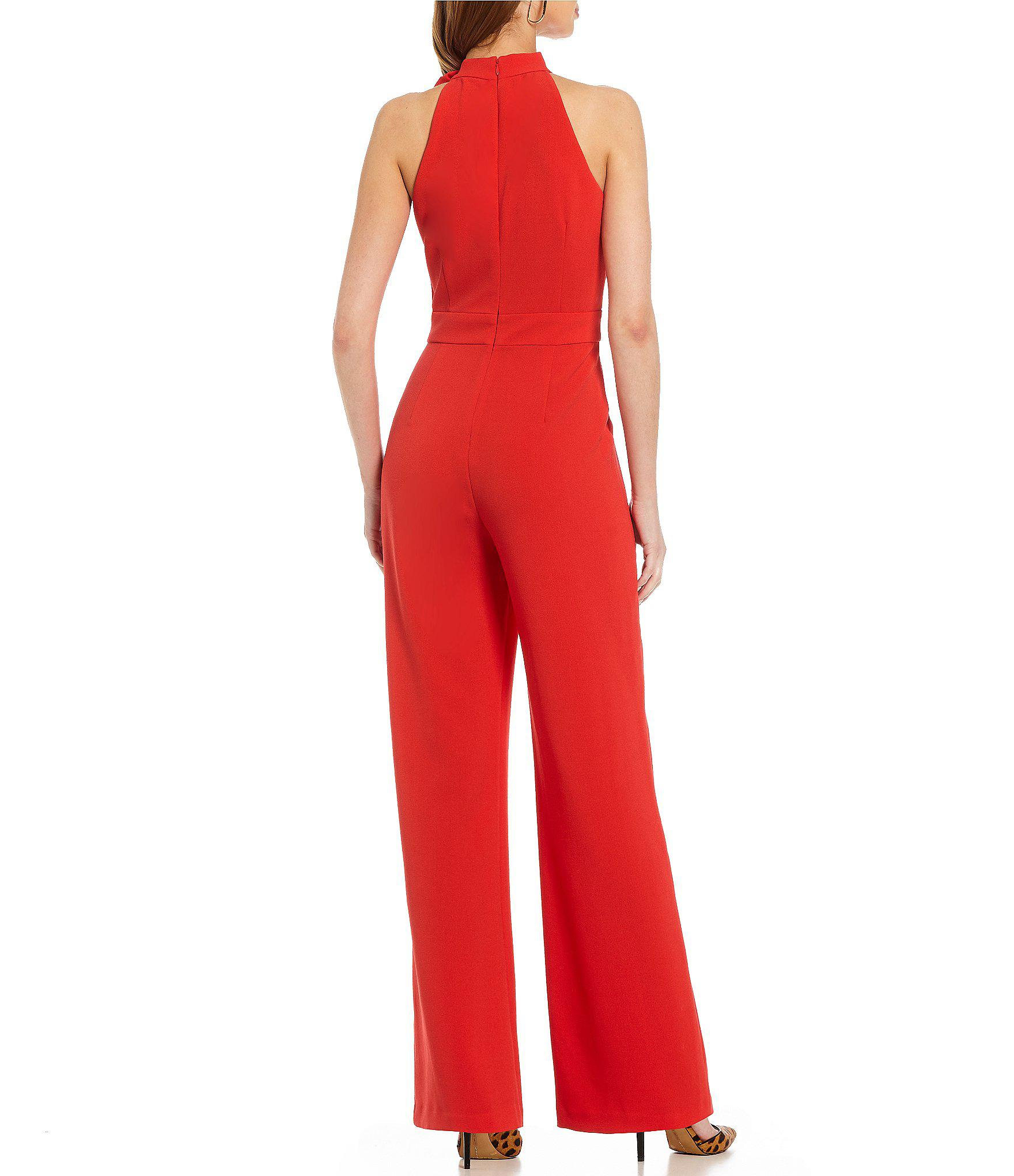 Lyst Vince Camuto Bow Neck Jumpsuit In Red
