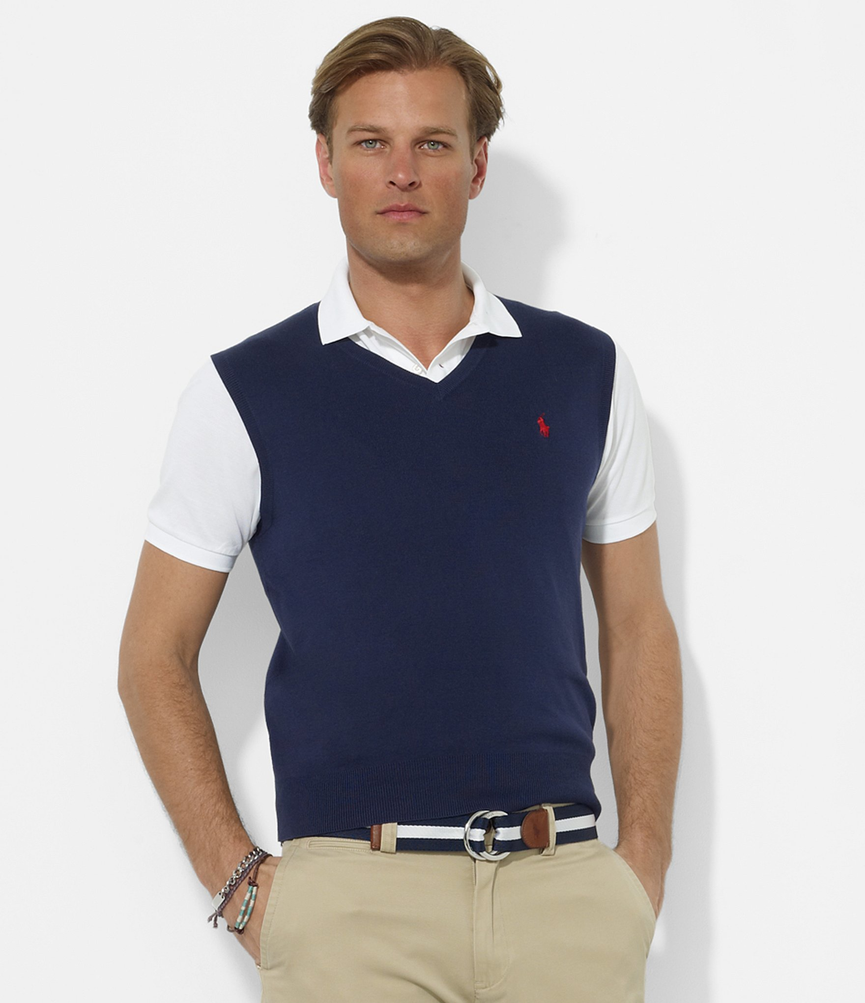 Polo Ralph Lauren. Men\u0026#39;s Blue Pima V-neck Sweater Vest