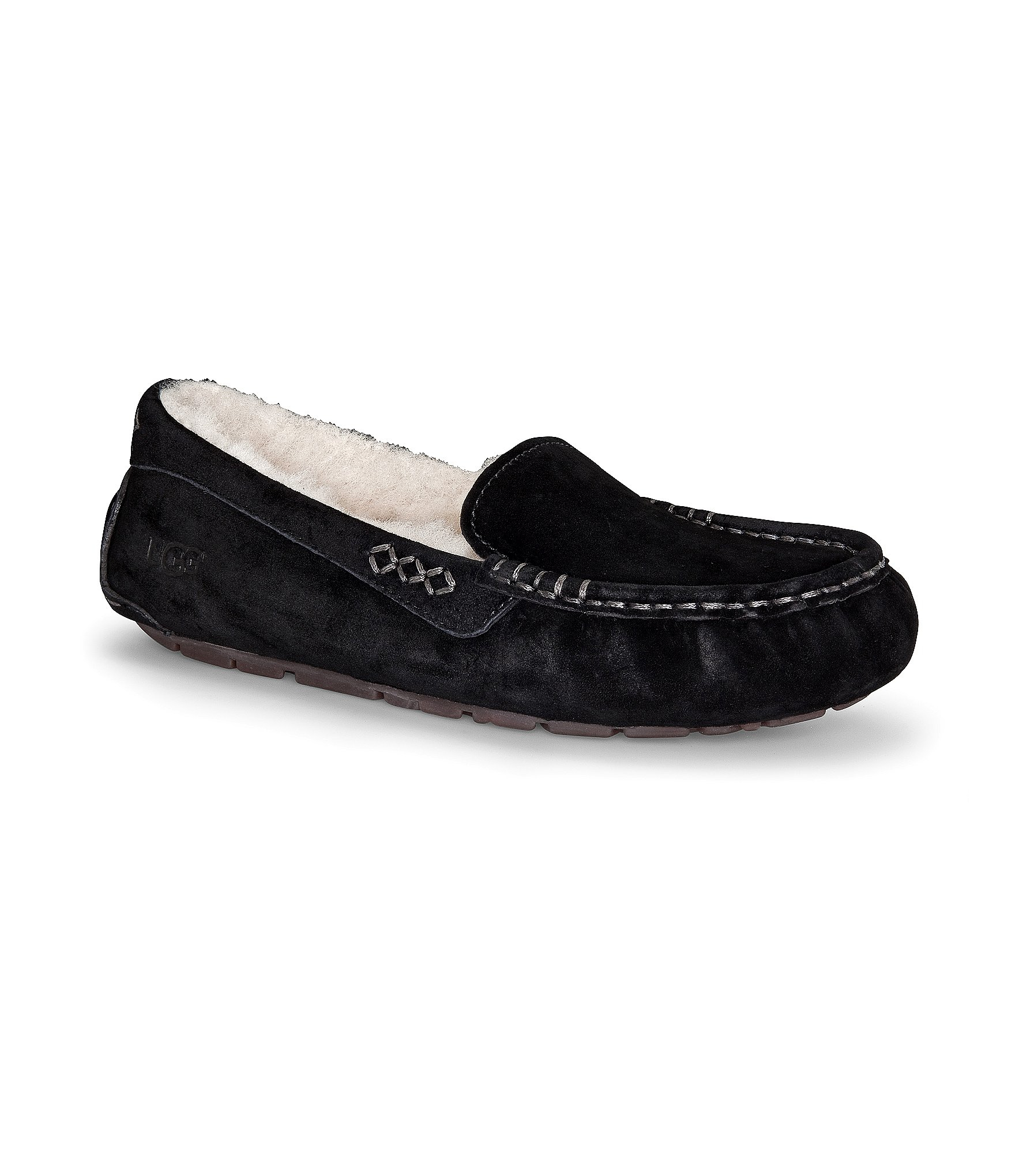 ugg ansley stitch detailed moccasin slippers in black lyst