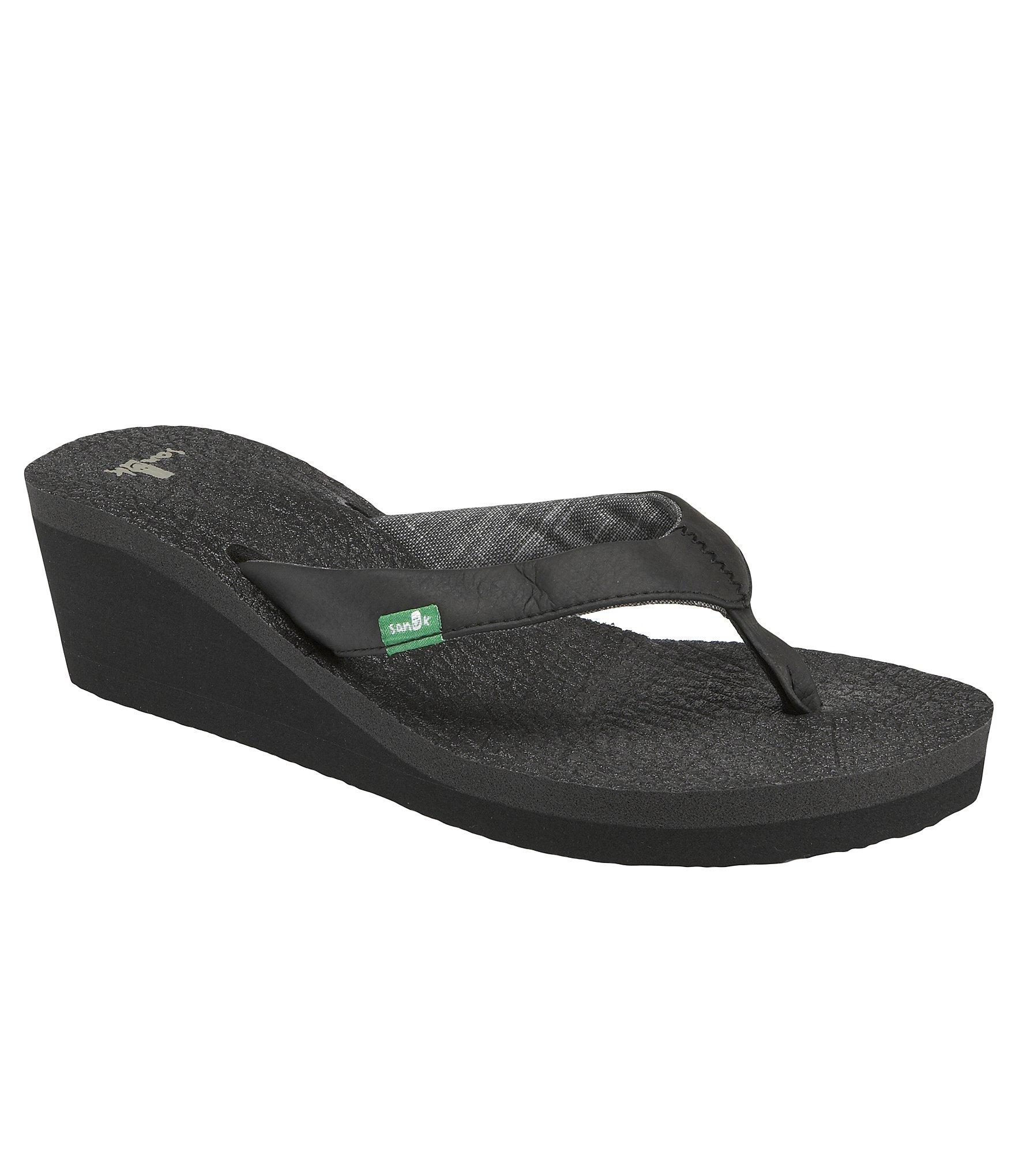 Sanuk Yoga Mat Wedge Sandals In Black