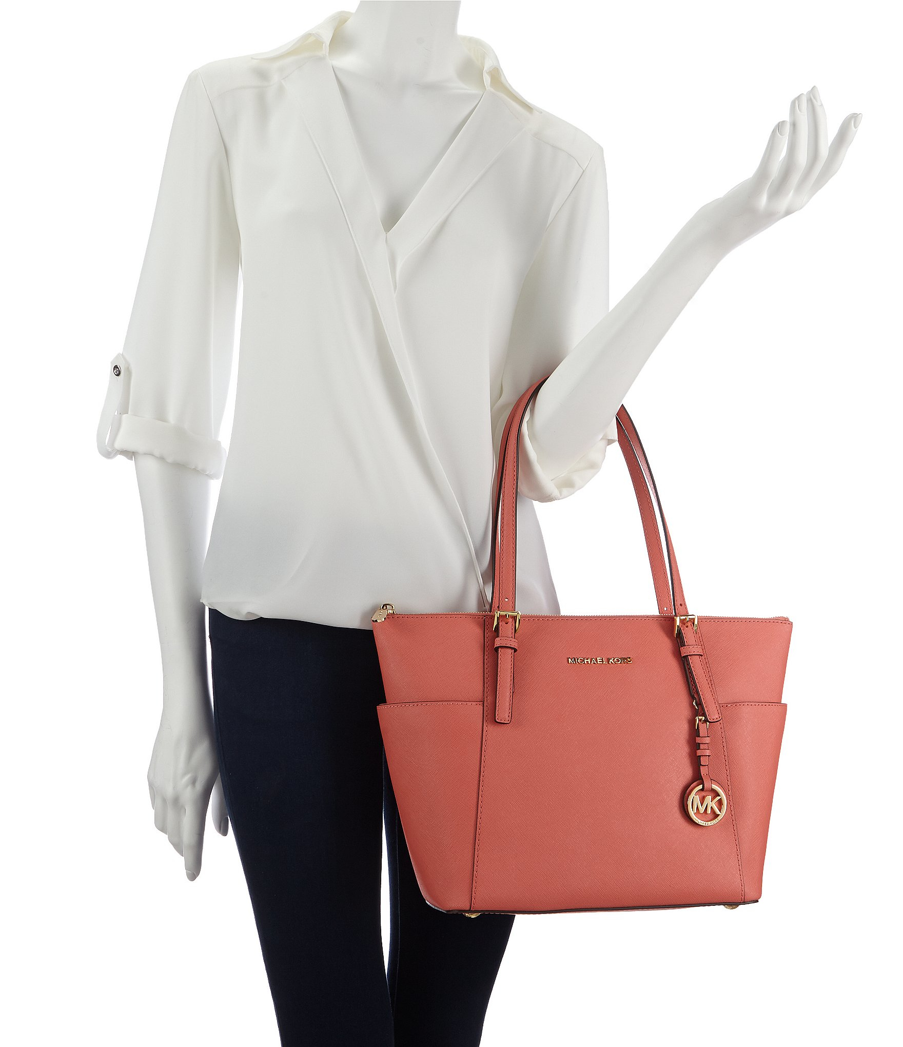 09f64bf403b3 cheap lyst michael michael kors jet set east west tote in pink 2859a 85d54