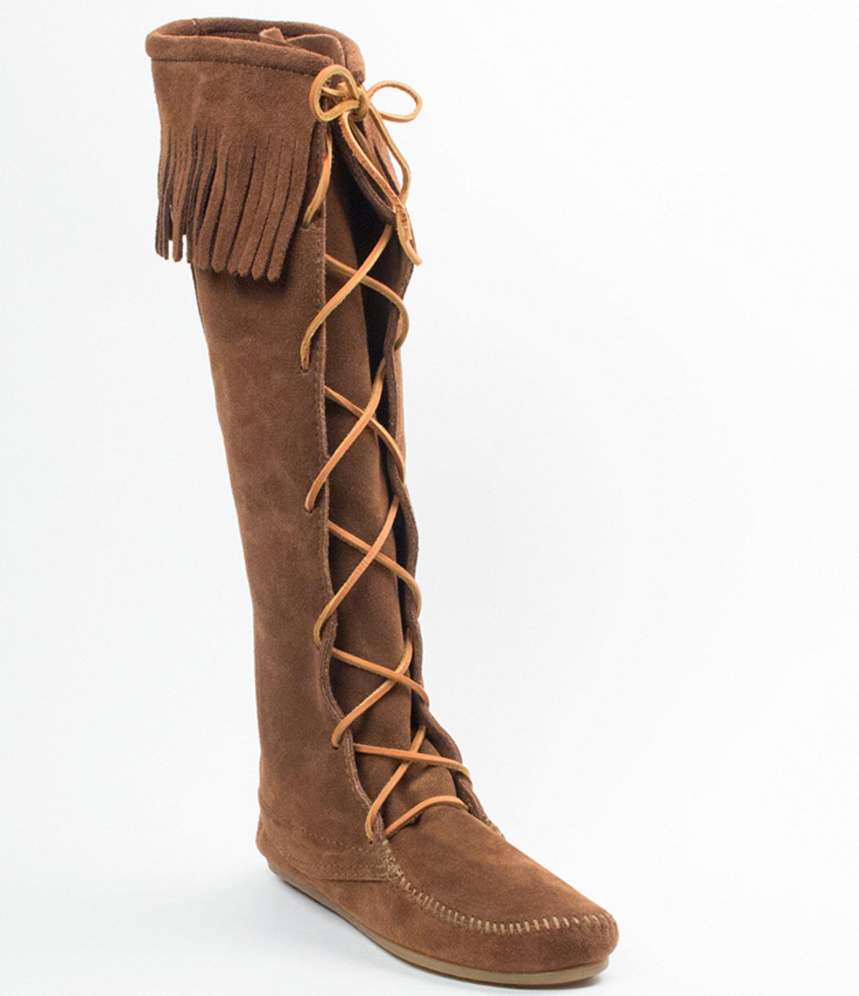 minnetonka hardsole fringe boots in brown lyst